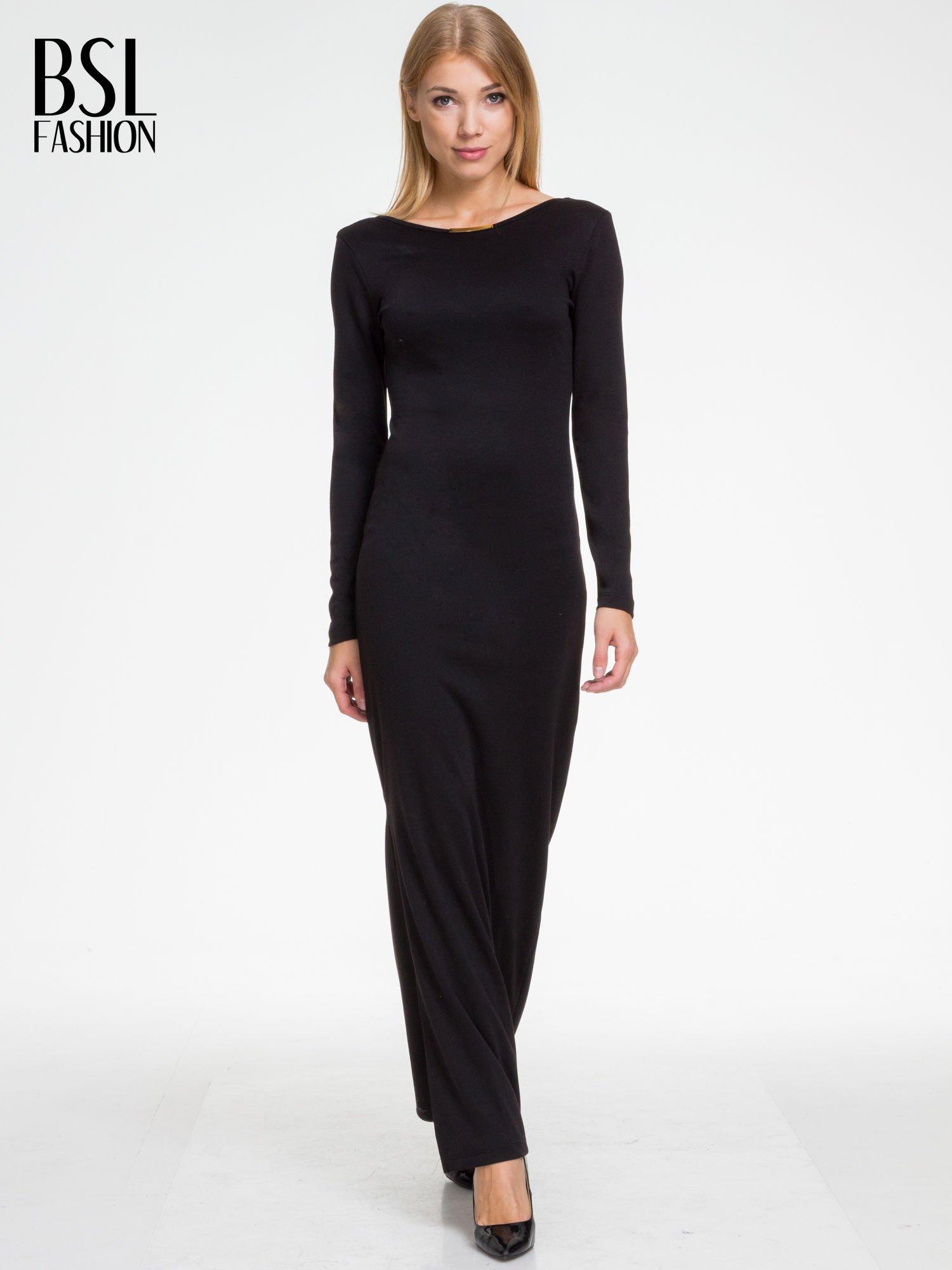 Czarna sukienka maxi  z dekoltem na plecach                                  zdj.                                  1
