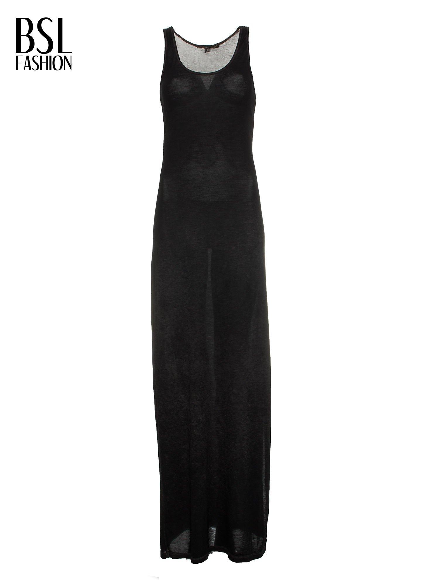 Czarna sukienka maxi z efektem sprania                                  zdj.                                  4