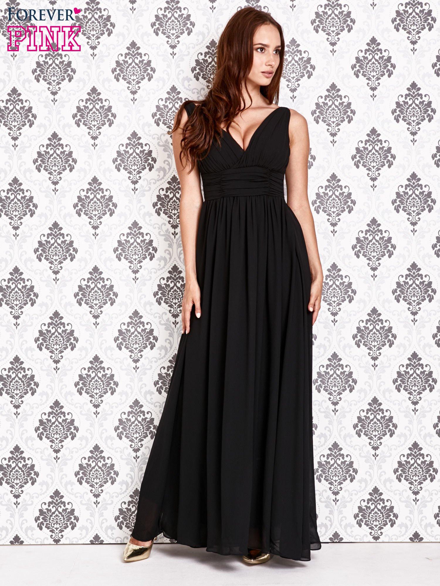 Czarna sukienka maxi z odkrytymi plecami                                  zdj.                                  2