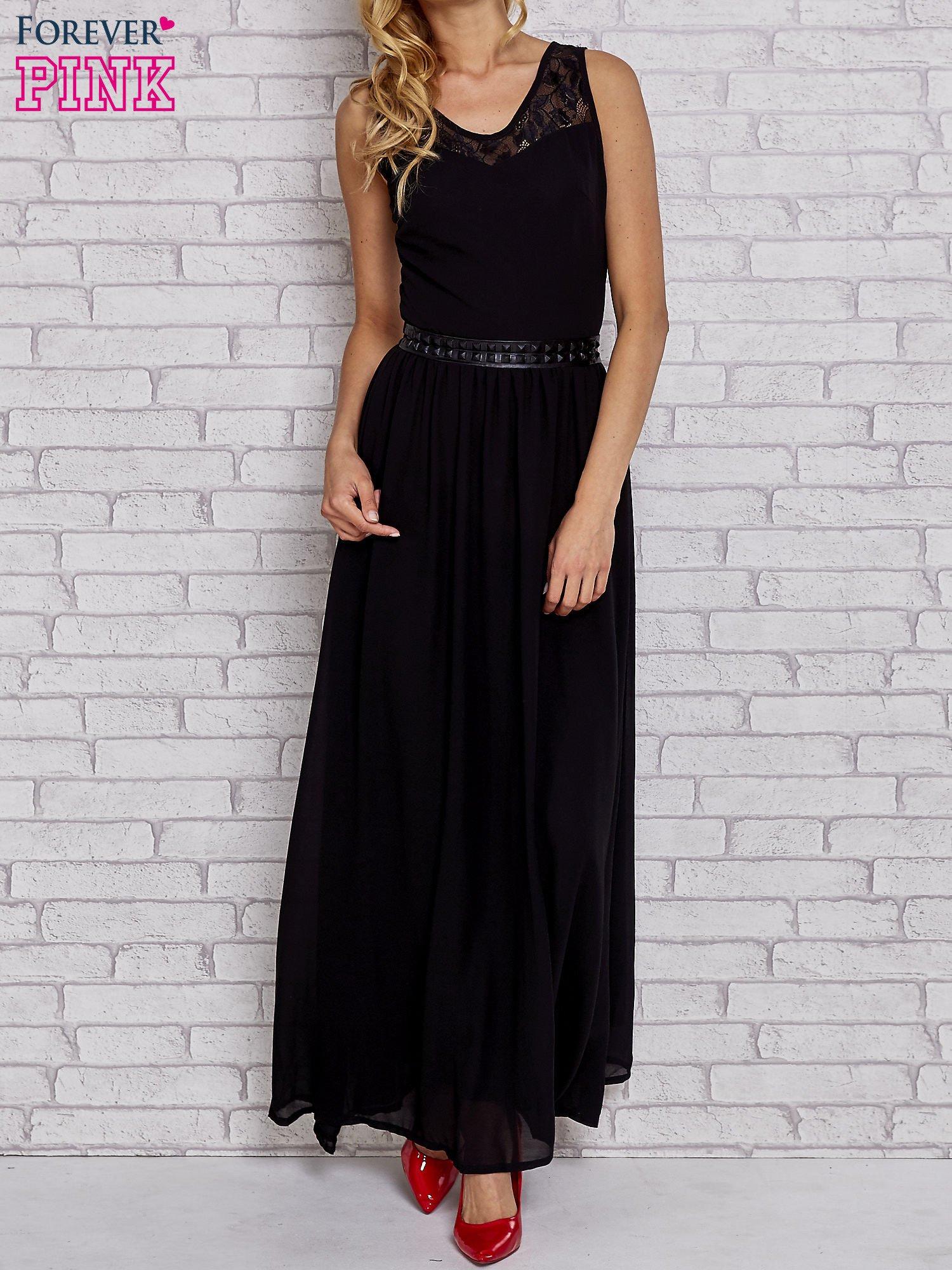 Czarna sukienka maxi ze skórzanym pasem a'la ćwieki                                  zdj.                                  1