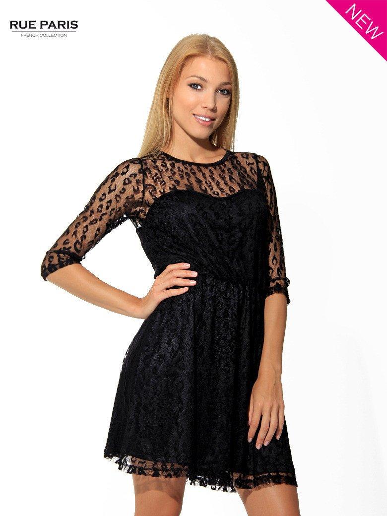 Czarna sukienka pokryta panterkową siateczką                                  zdj.                                  2