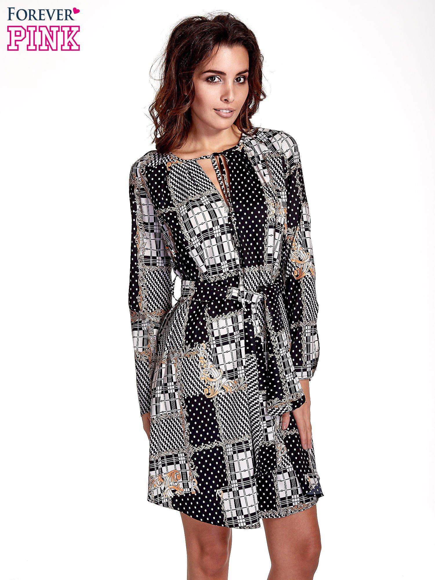 Czarna sukienka z nadrukami i wiązaniem w pasie                                  zdj.                                  1