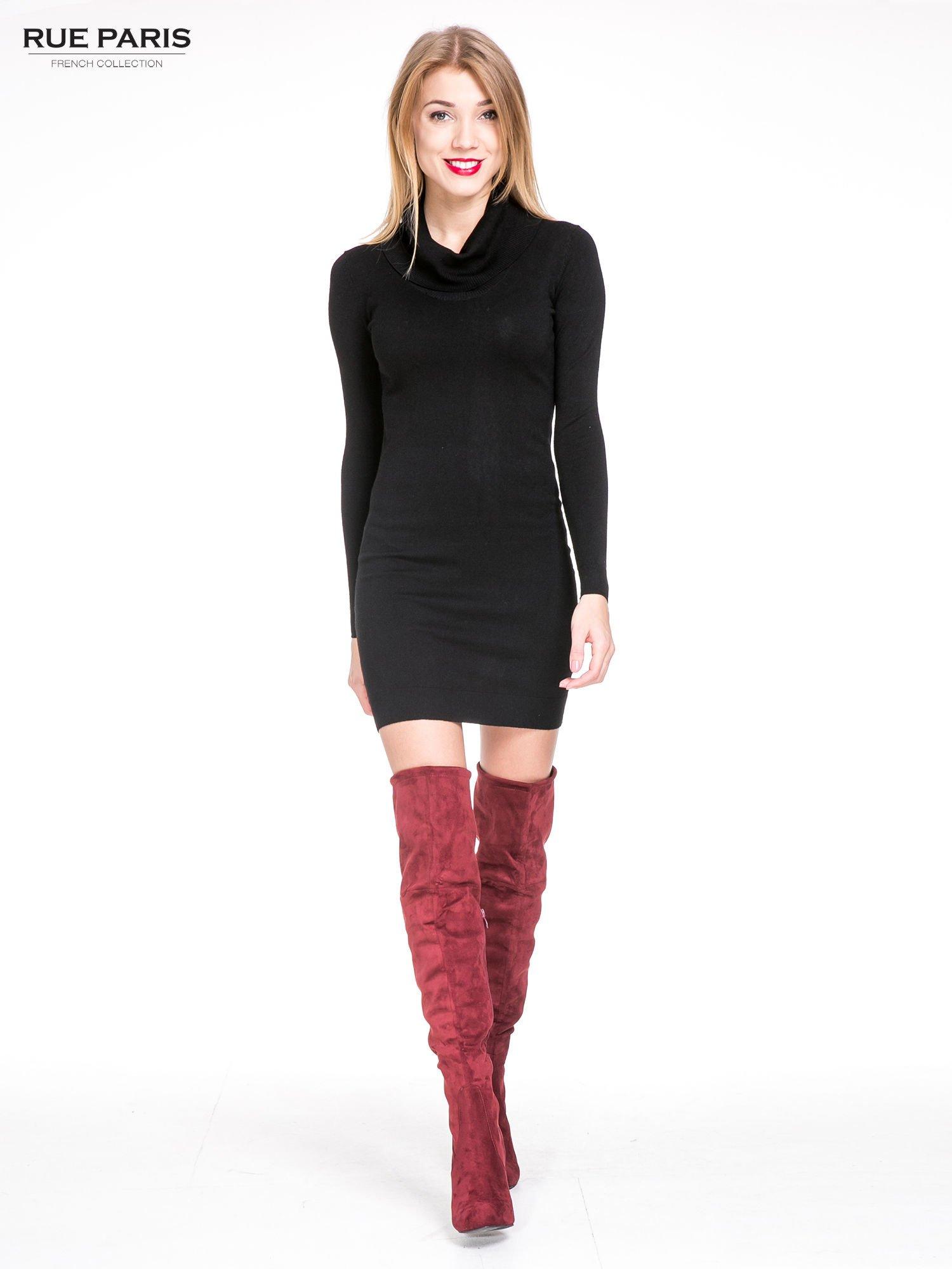 Czarna swetrowa sukienka z golfem                                  zdj.                                  1
