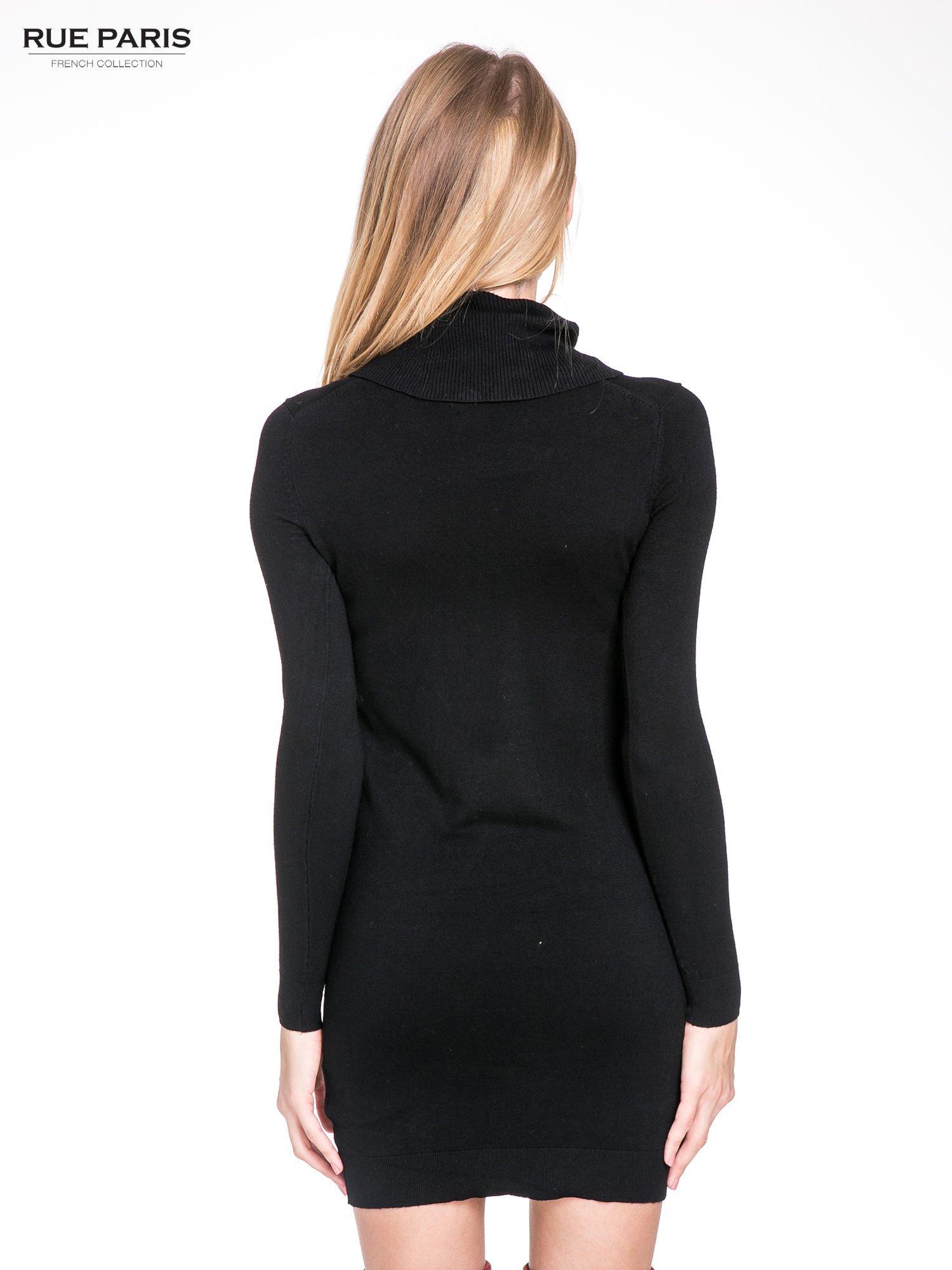 Czarna swetrowa sukienka z golfem                                  zdj.                                  6