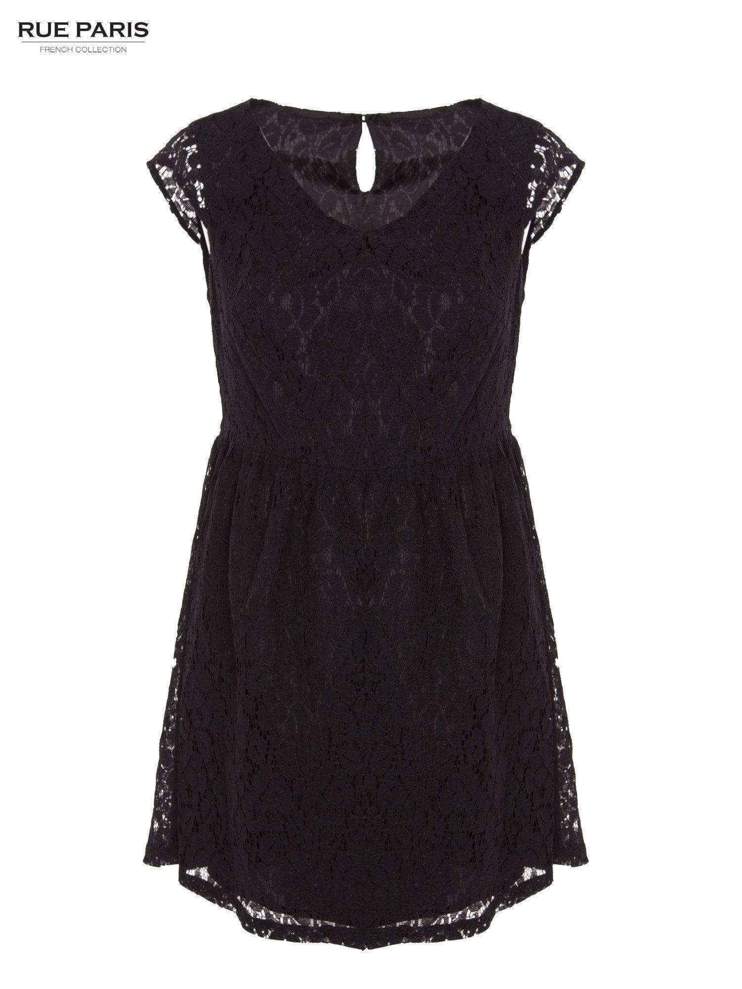 Czarna taliowana sukienka z koronki                                  zdj.                                  1