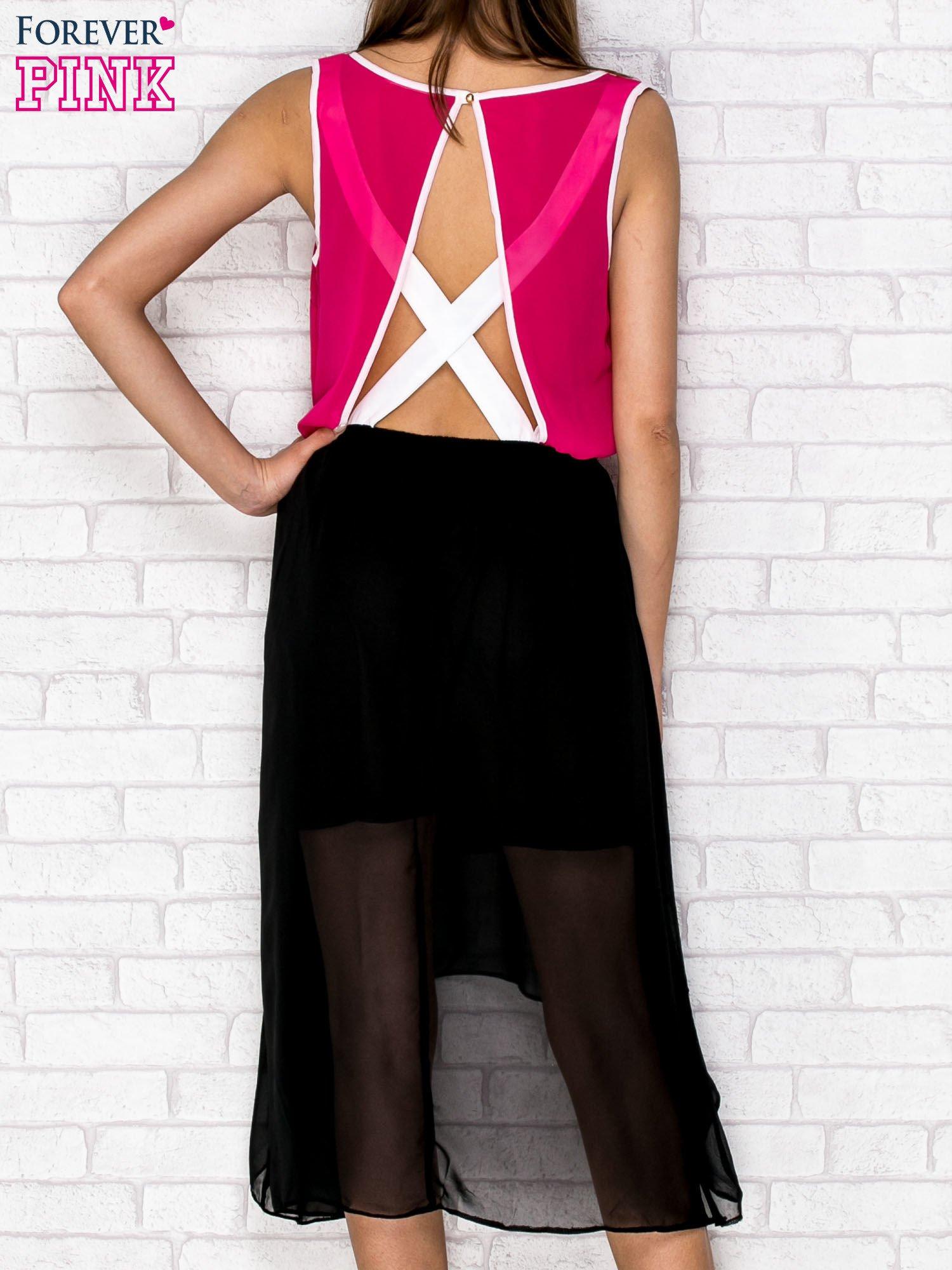 Czarna tiulowa sukienka z krzyżowanymi plecami                                  zdj.                                  4