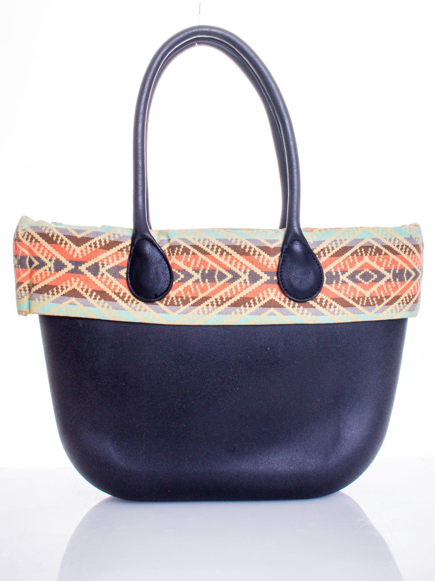 Czarna torba gumowa z motywem azteckim                                  zdj.                                  1