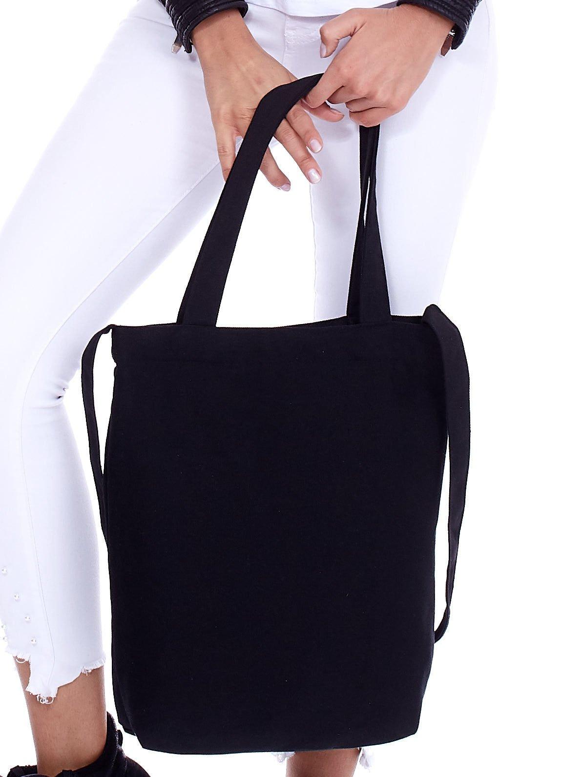 1484b268ea549 Czarna torba materiałowa ZARA SZLAG MNIE TRAFI - Akcesoria torba ...