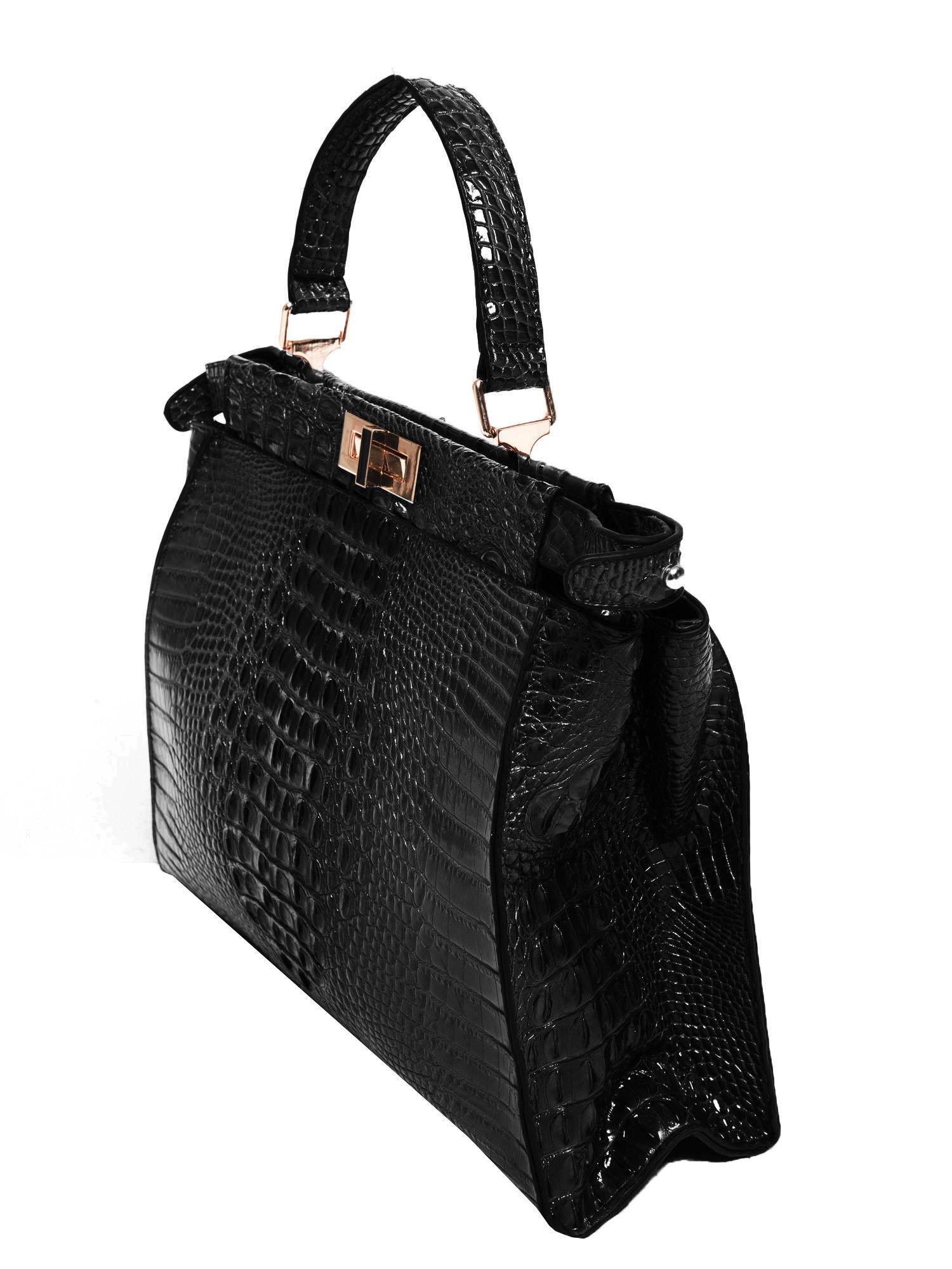 Czarna torba miejska z efektem krokodylej skóry                                  zdj.                                  2