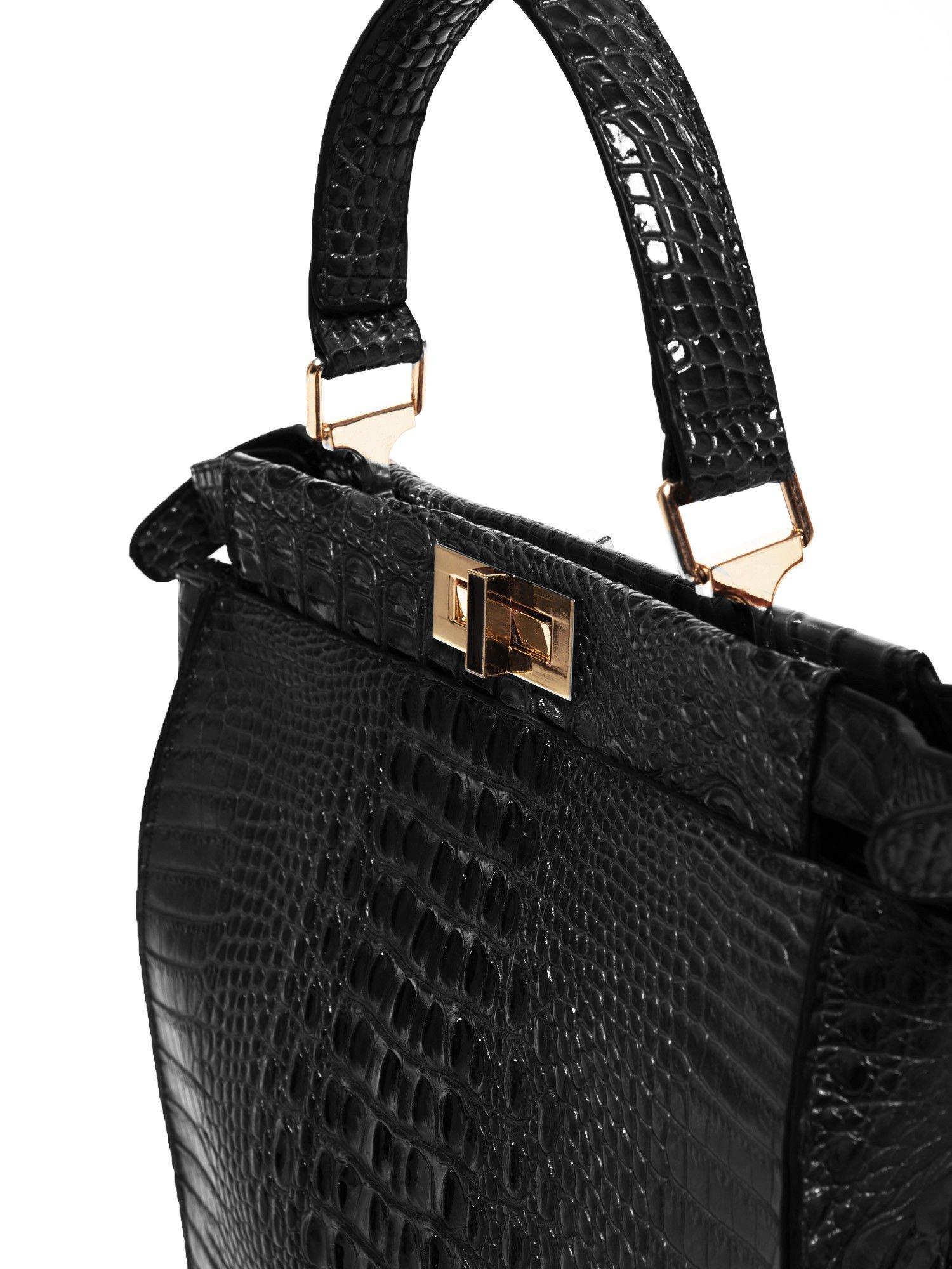 Czarna torba miejska z efektem krokodylej skóry                                  zdj.                                  5
