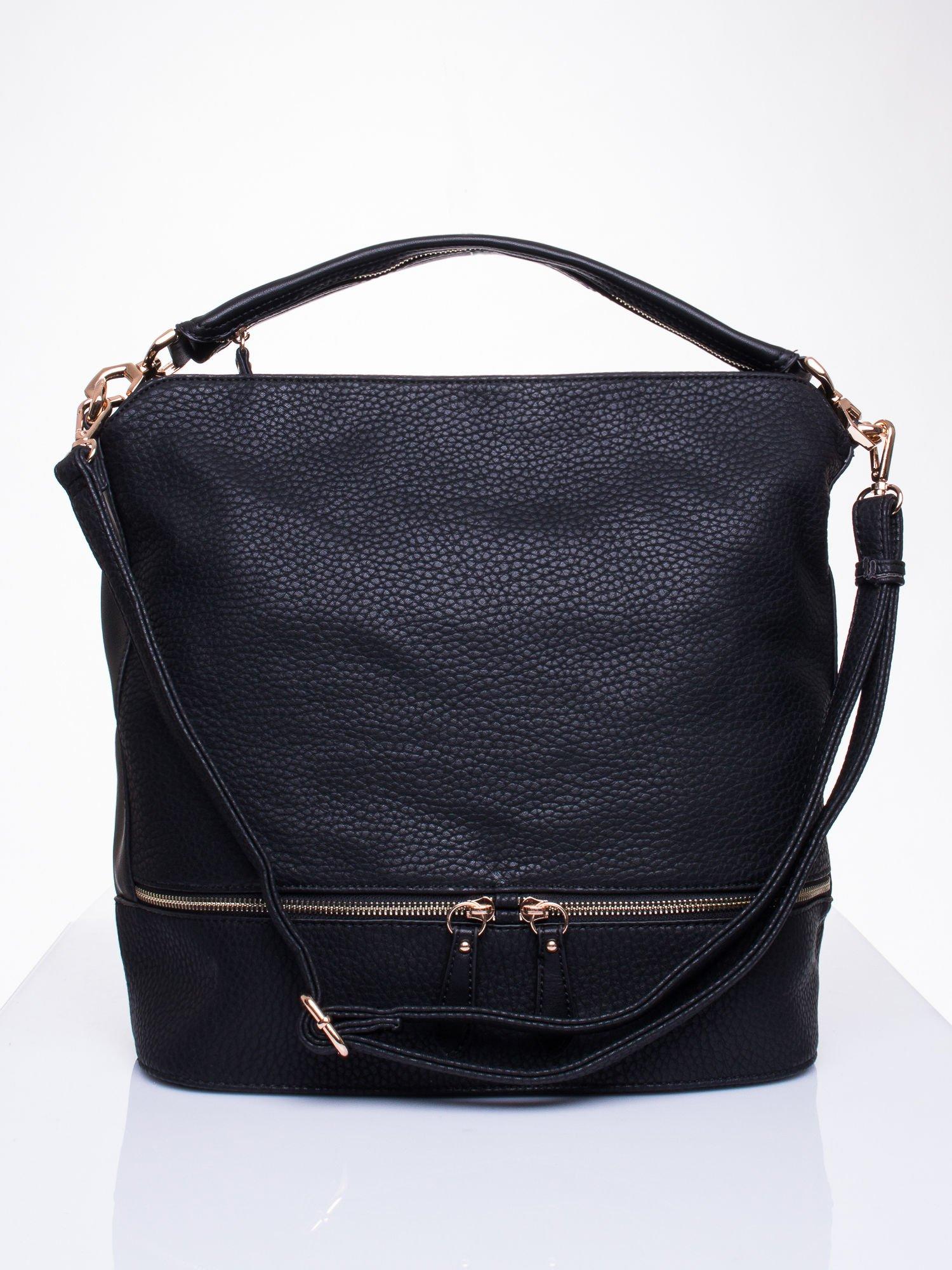 5340bcc93c513 Czarna torba na ramię z ozdobnymi suwakami - Akcesoria torba - sklep  eButik.pl