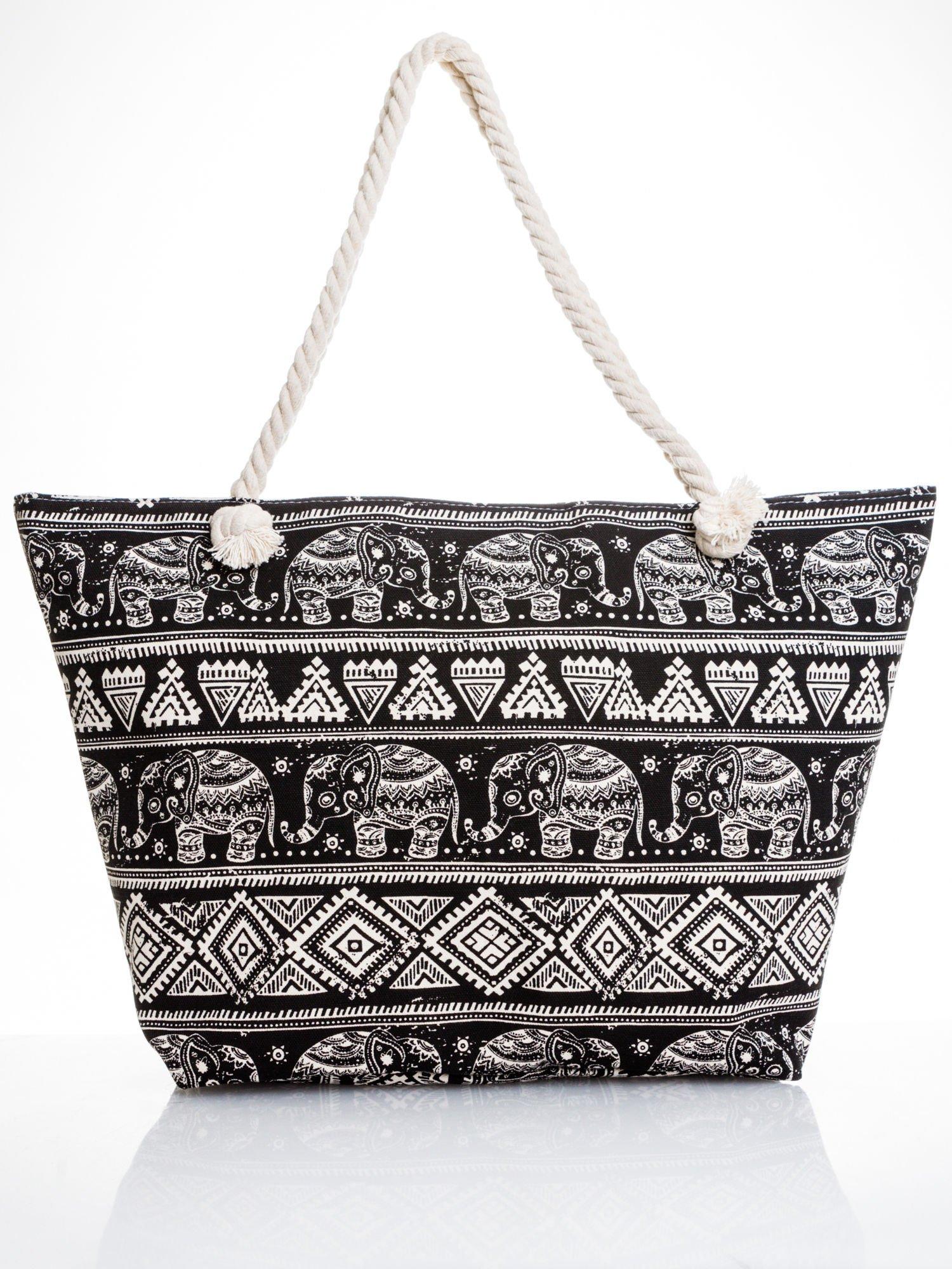 Czarna torba plażowa w indyjskie wzory                                  zdj.                                  5
