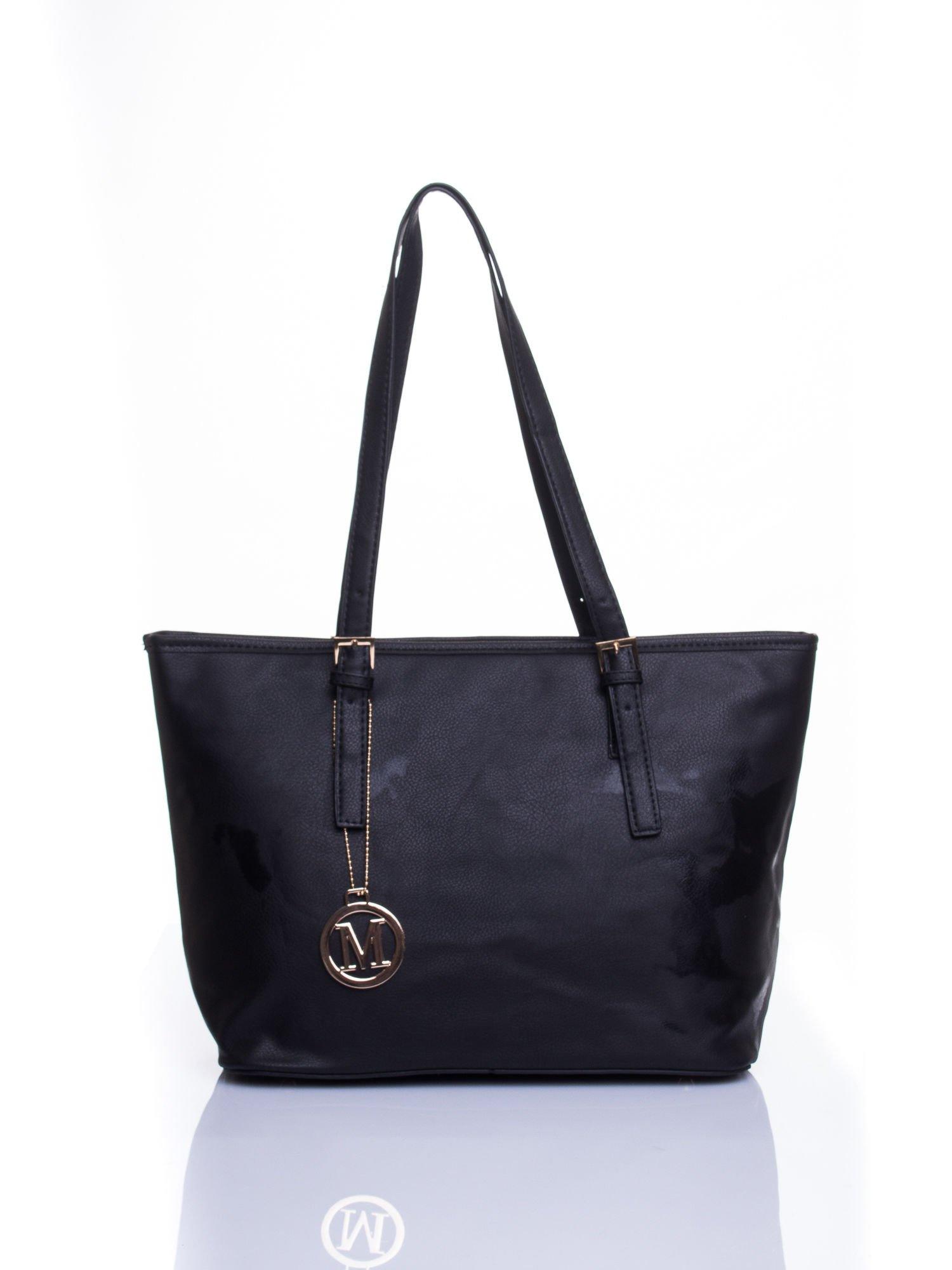Czarna torba shopper bag z regulowanymi rączkami                                  zdj.                                  1
