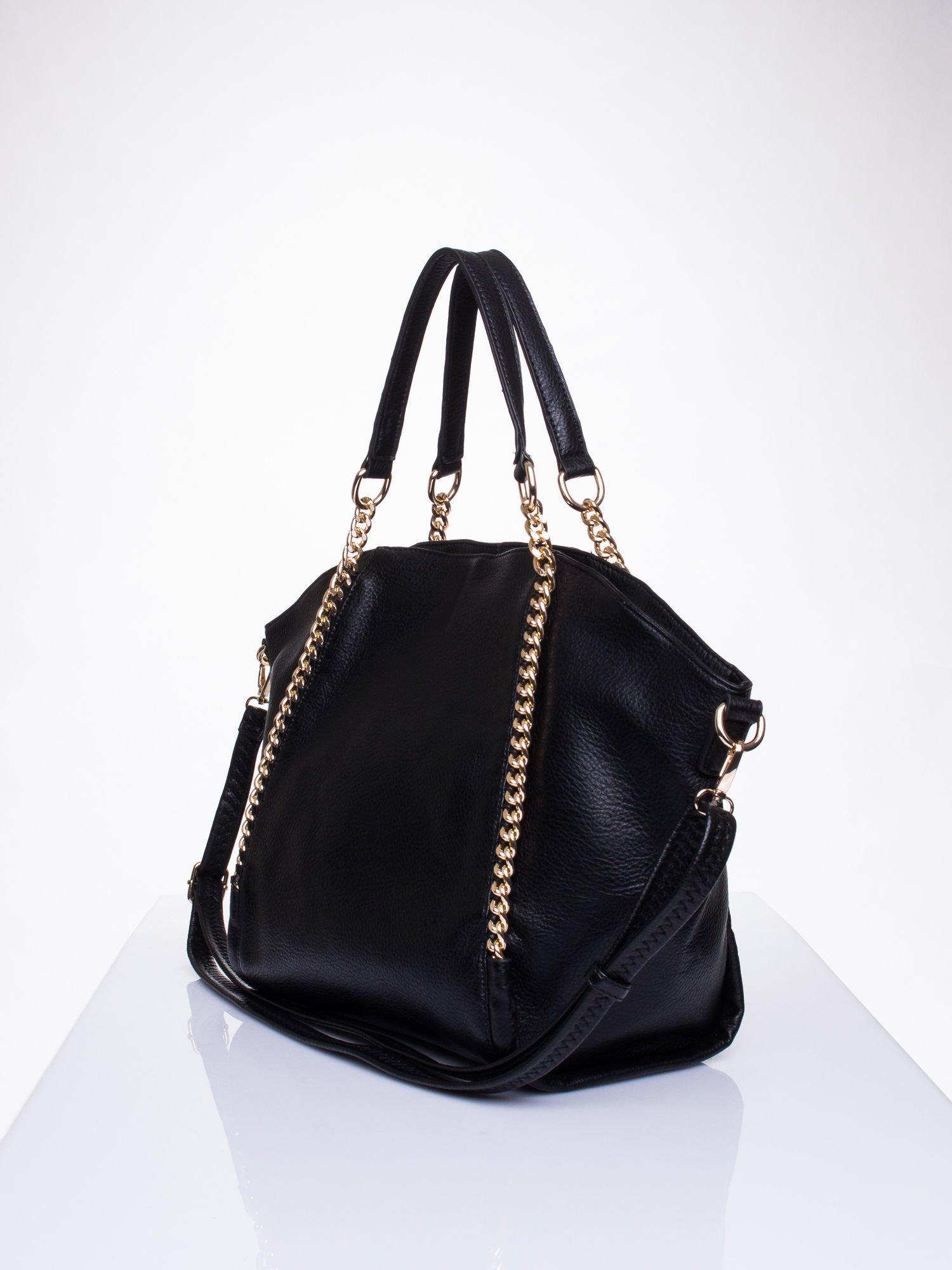 Czarna torba shopper bag ze złotymi łańcuchami                                  zdj.                                  3