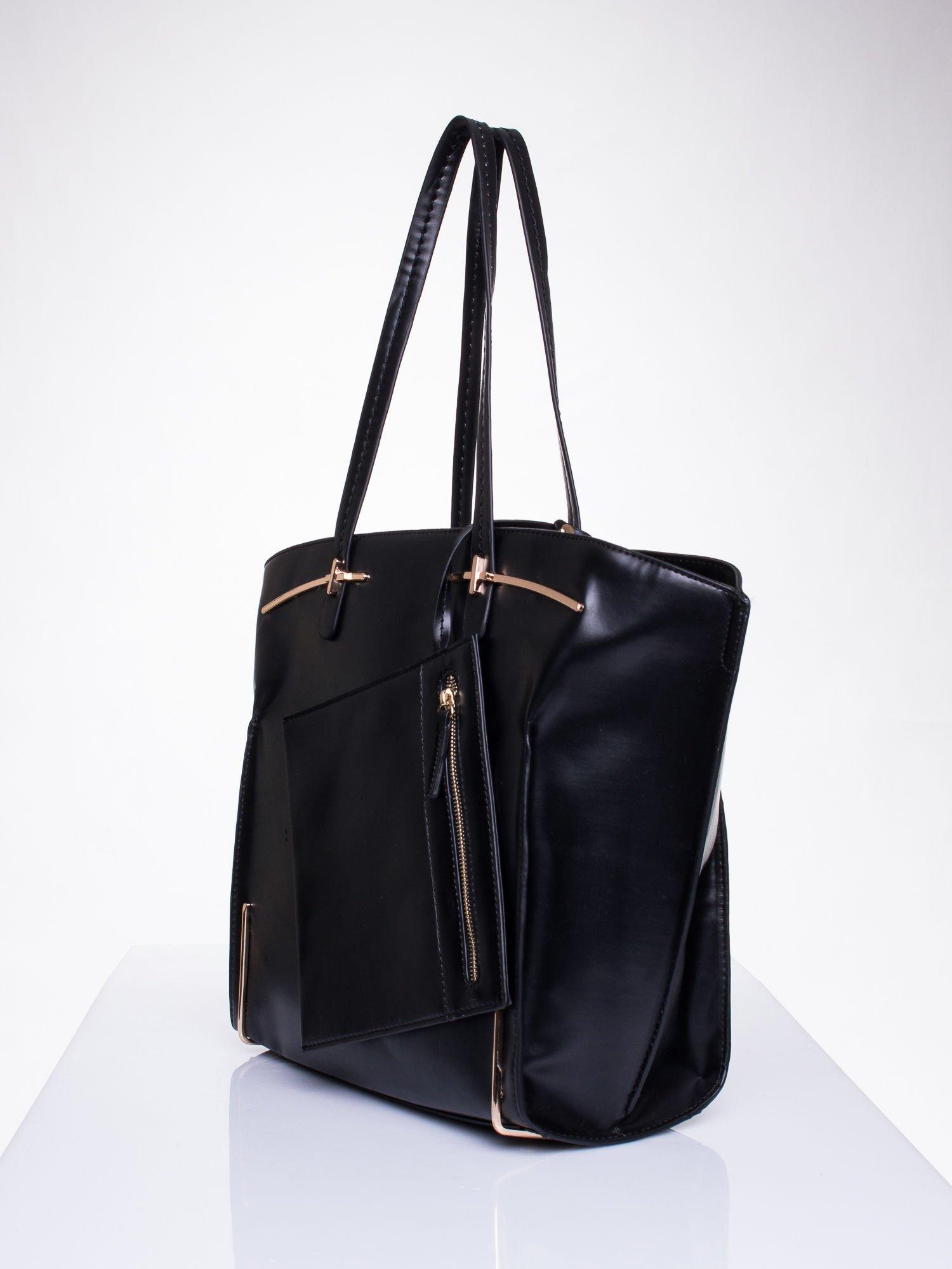 Czarna torba z doczepianą saszetką                                  zdj.                                  3