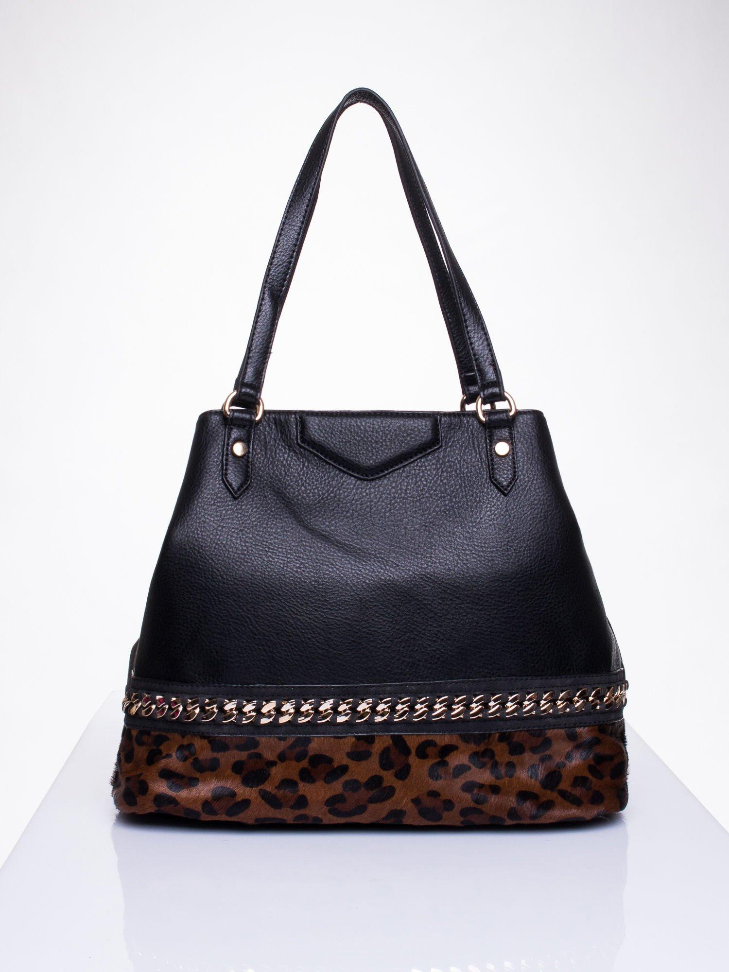 Czarna torba z panterkowym motywem                                  zdj.                                  1
