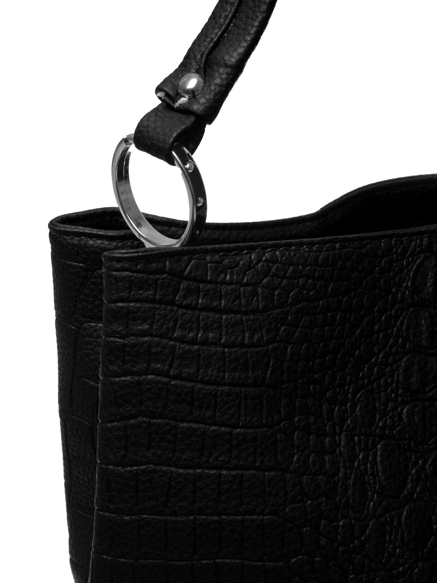 Czarna torebka na ramię tłoczona na wzór skóry krokodyla                                  zdj.                                  4