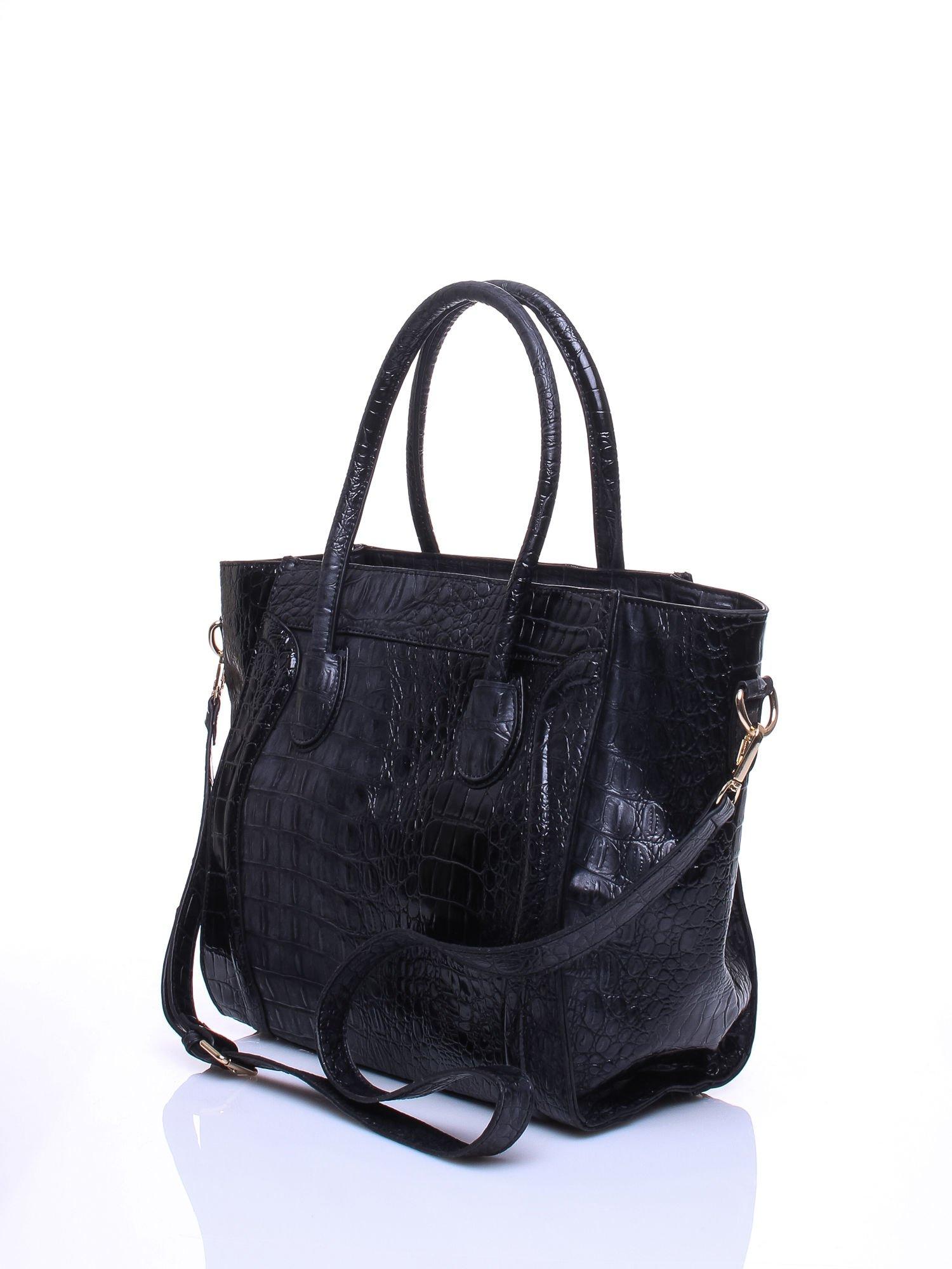 Czarna trapezowa torba miejska z efektem skóry krokodyla                                  zdj.                                  3