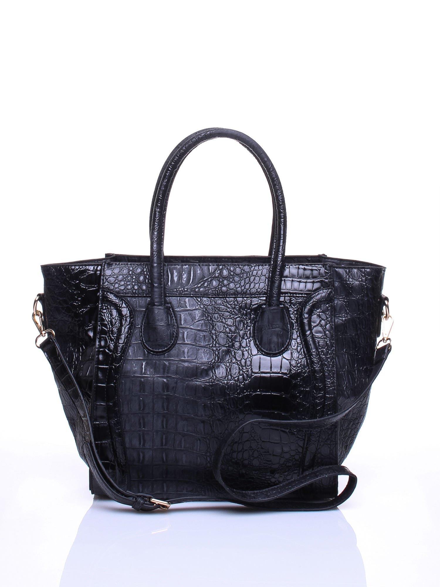 Czarna trapezowa torba miejska z efektem skóry krokodyla                                  zdj.                                  1