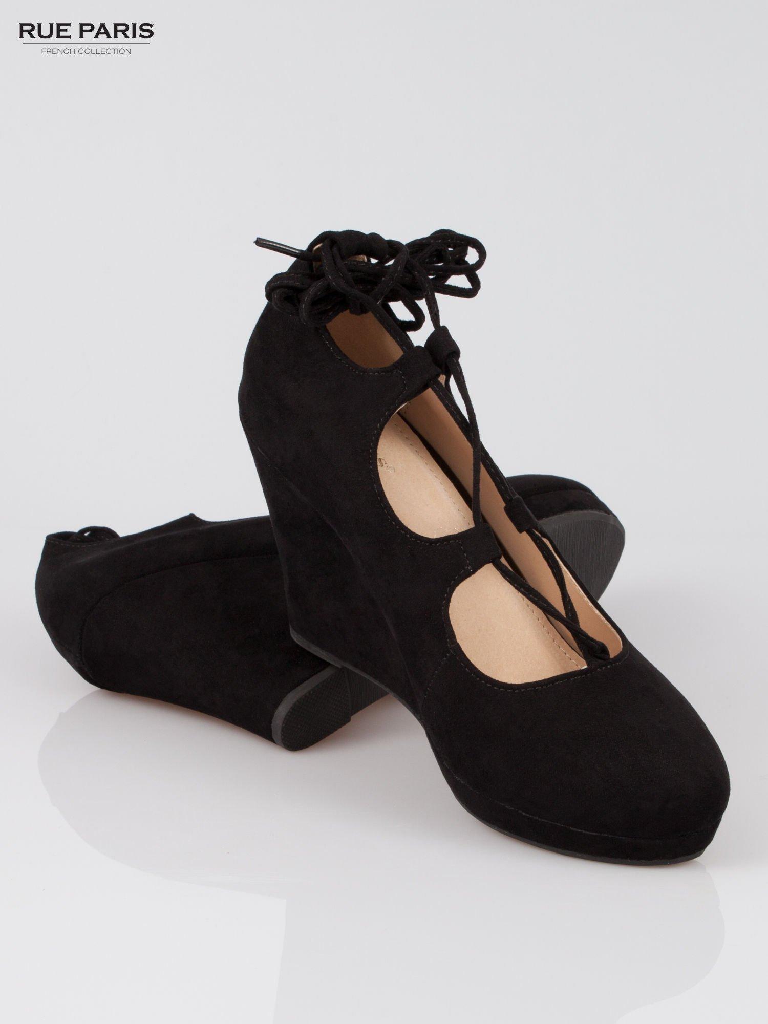 Czarna wiązane koturny lace up                                  zdj.                                  4