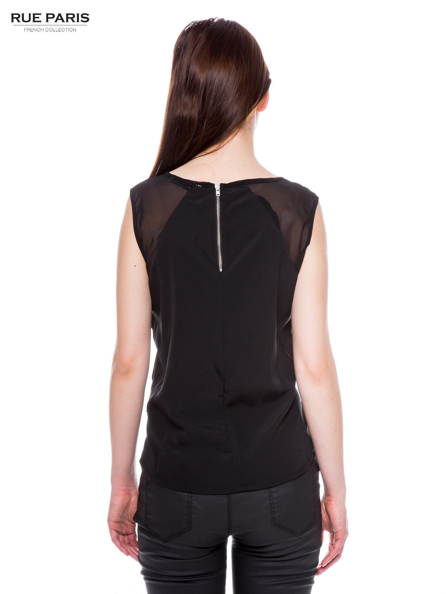 Czarna zwiewna koszula z dżetami                                  zdj.                                  3