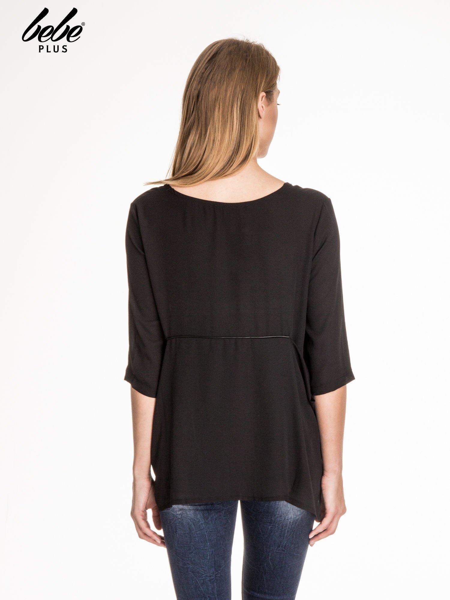Czarna zwiewna koszula ze skórzanym wstawką                                  zdj.                                  2