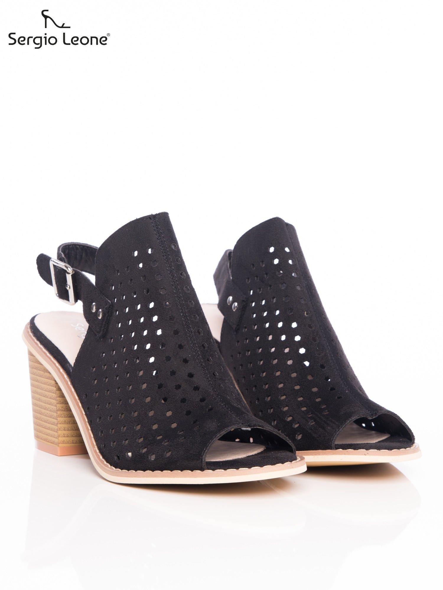 e2e437fd Czarne ażurowe sandały Sergio Leone na szerokim klocku - Buty Sandały  wysokie - sklep eButik.pl