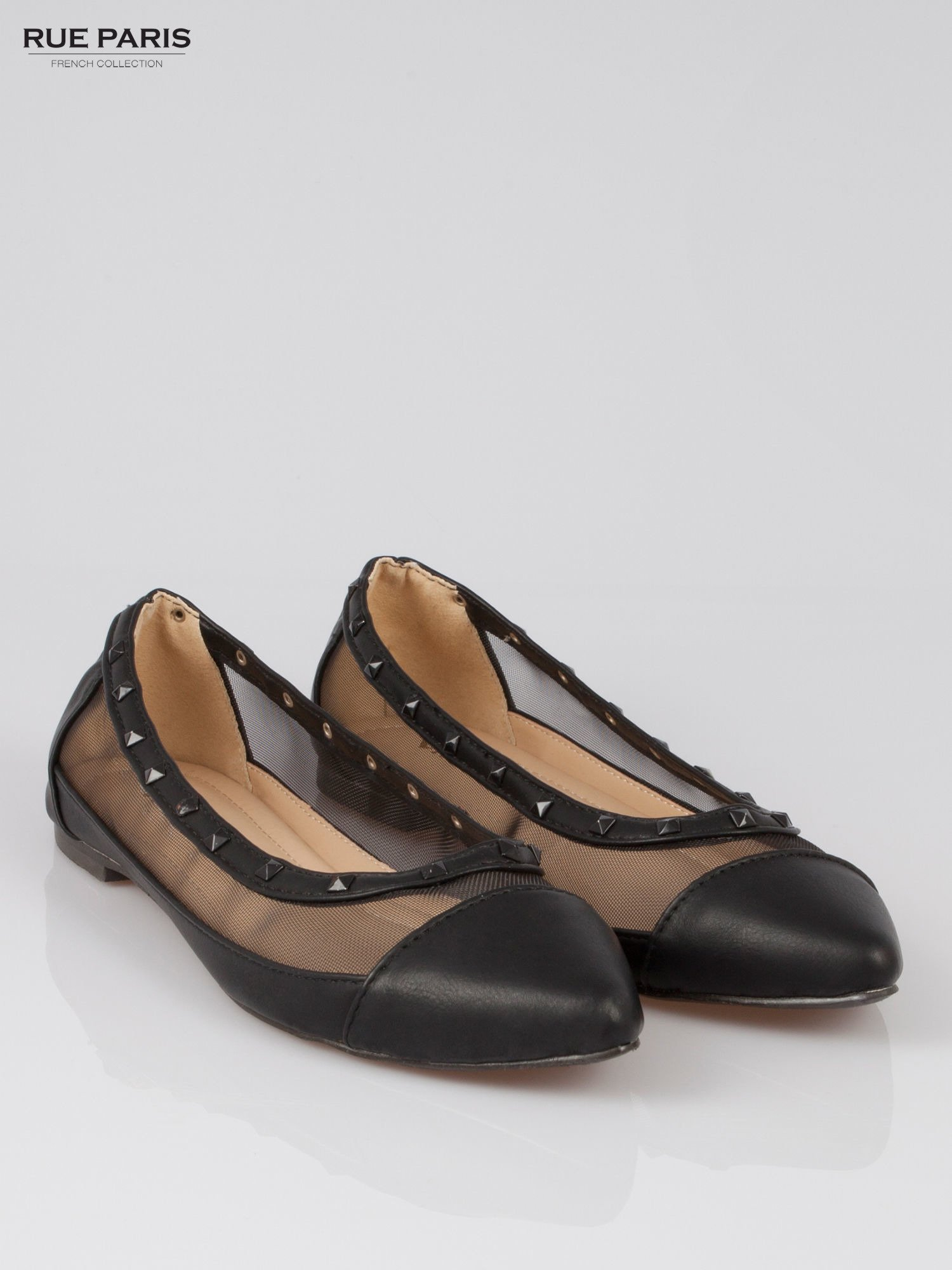 Czarne baleriny Crystal leather z siateczką i ćwiekami                                  zdj.                                  2