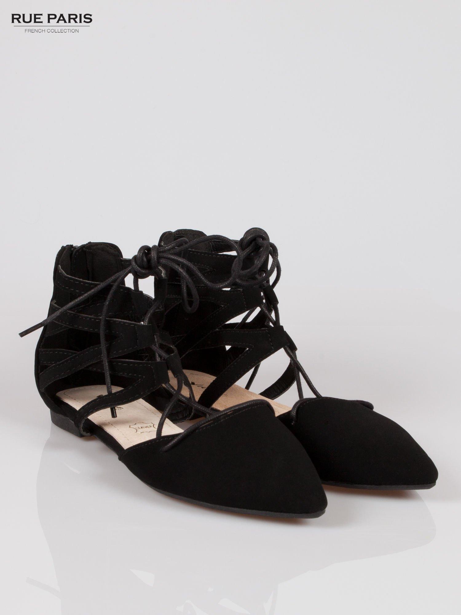 Czarne baleriny lace up faux suede Taylor z wiązaniem                                  zdj.                                  2