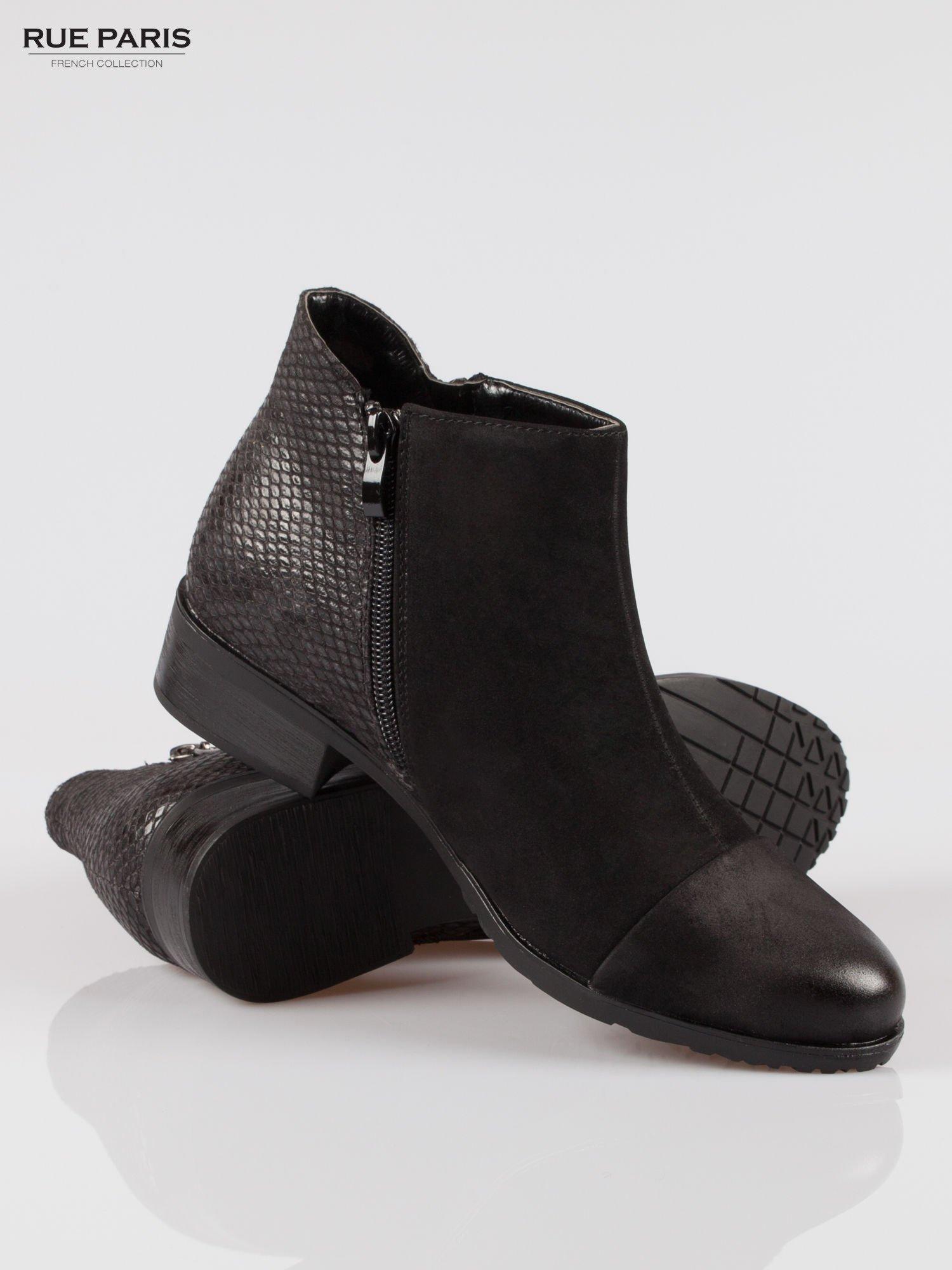 Czarne botki cap toe z nubuku z tyłem z efektem skóry krokodyla                                  zdj.                                  4