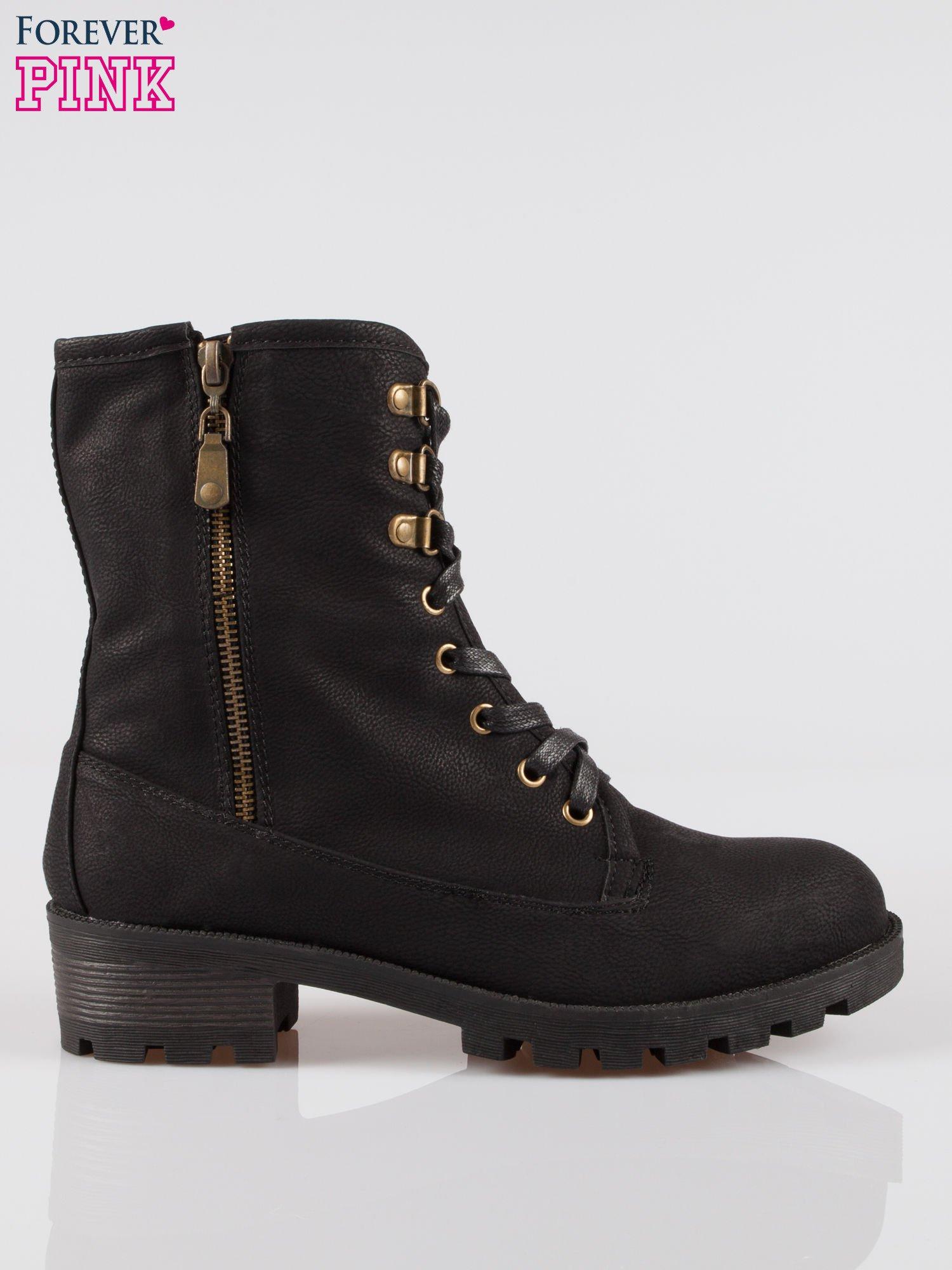 Czarne botki worker boots z zamkiem z boku                                  zdj.                                  1