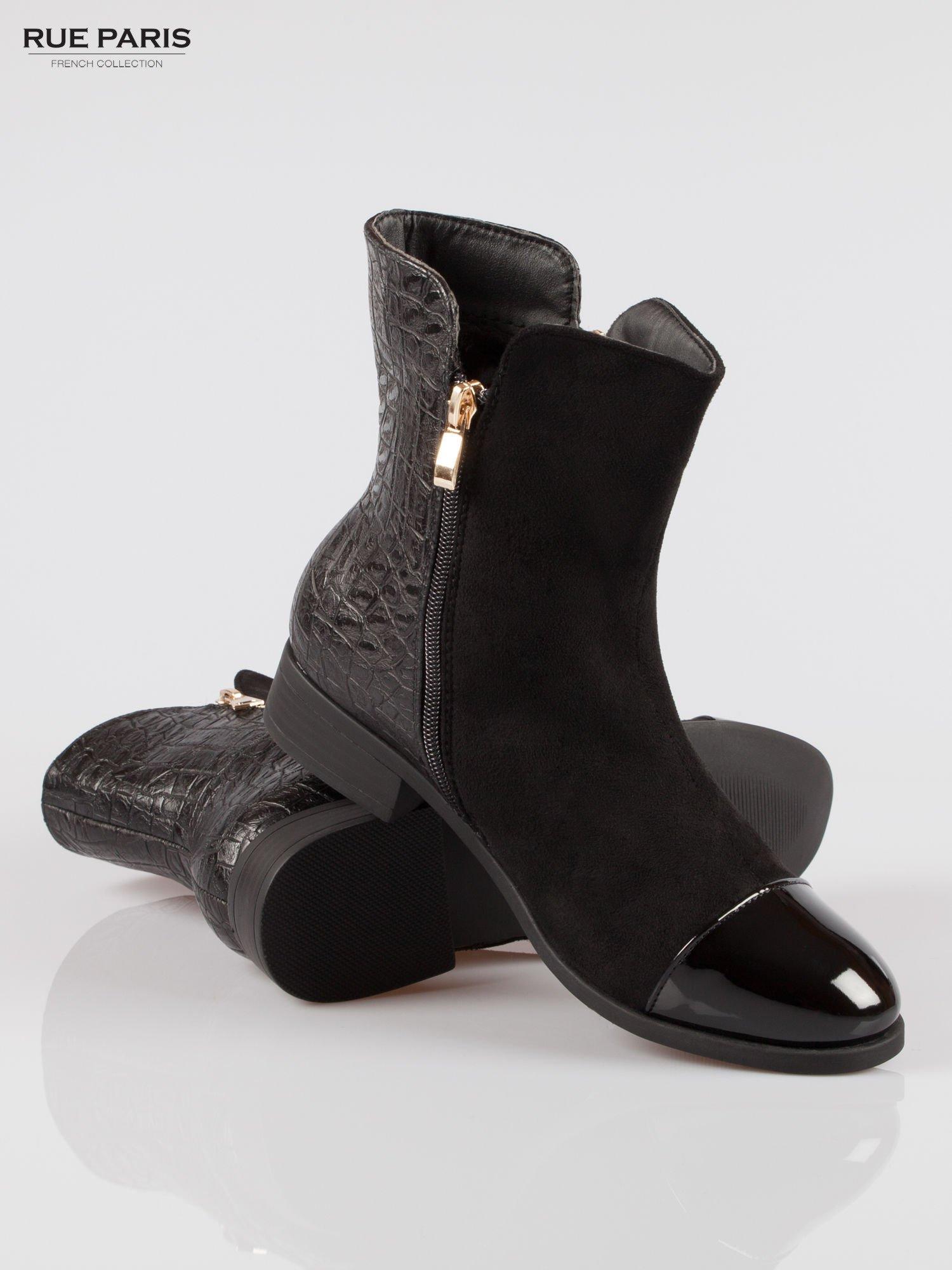 Czarne botki z dwustronnym zamkiem z tyłem z efektem skóry krokodyla                                  zdj.                                  4