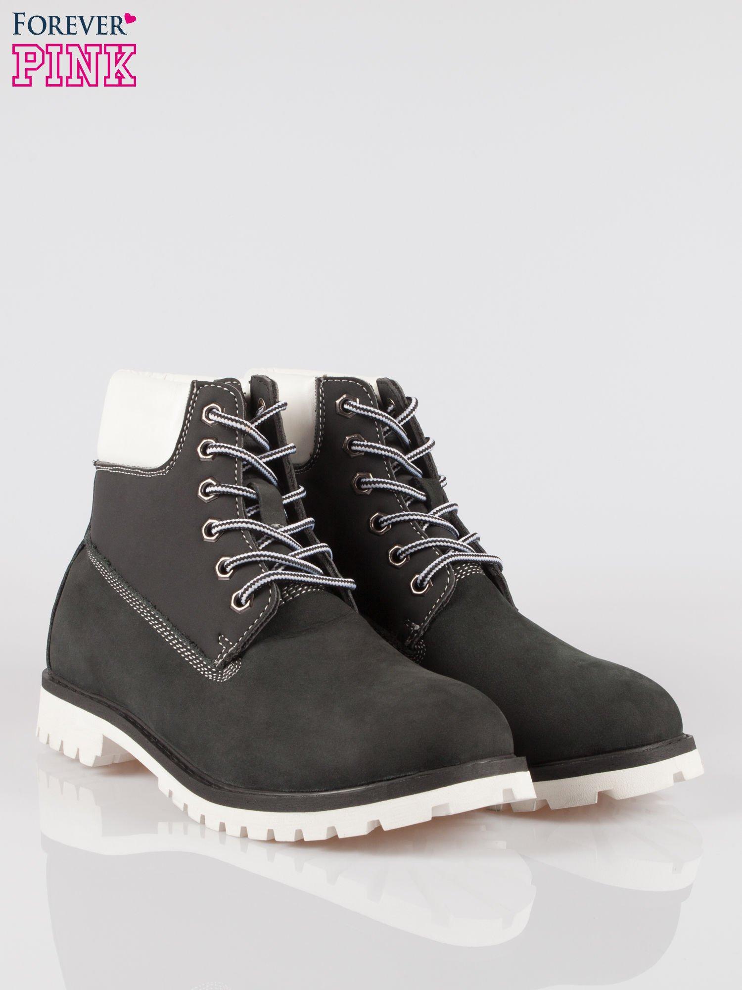 Czarne buty trekkingowe traperki damskie ze skóry naturalnej                                  zdj.                                  2