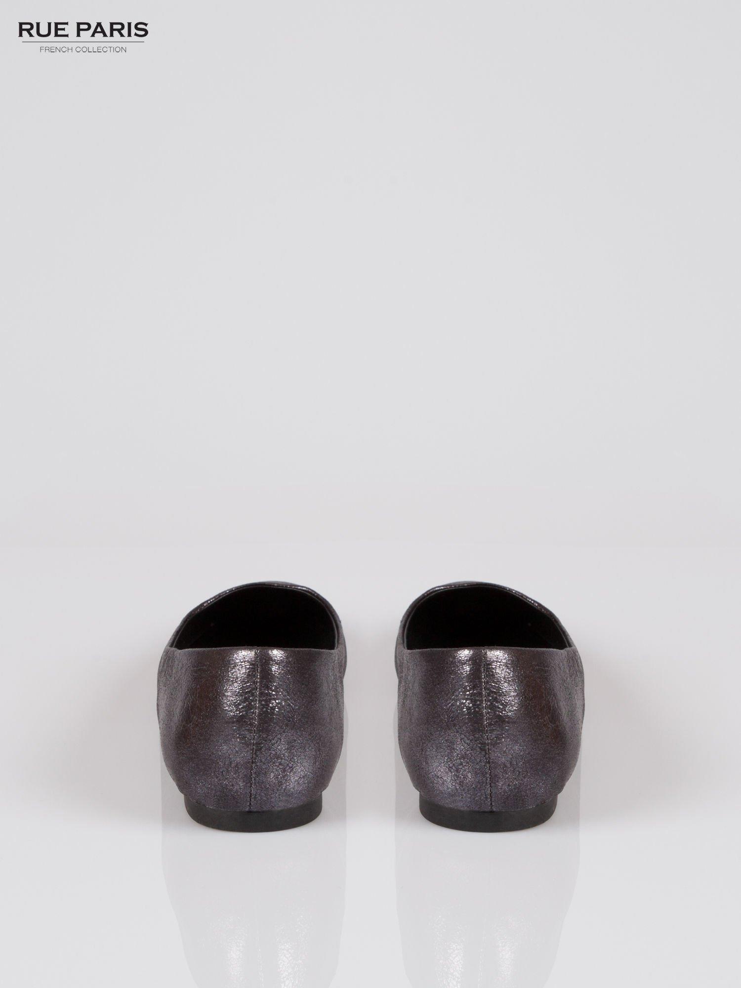 Czarne cieniowane baleriny faux leather ze smukłym noskiem                                  zdj.                                  3