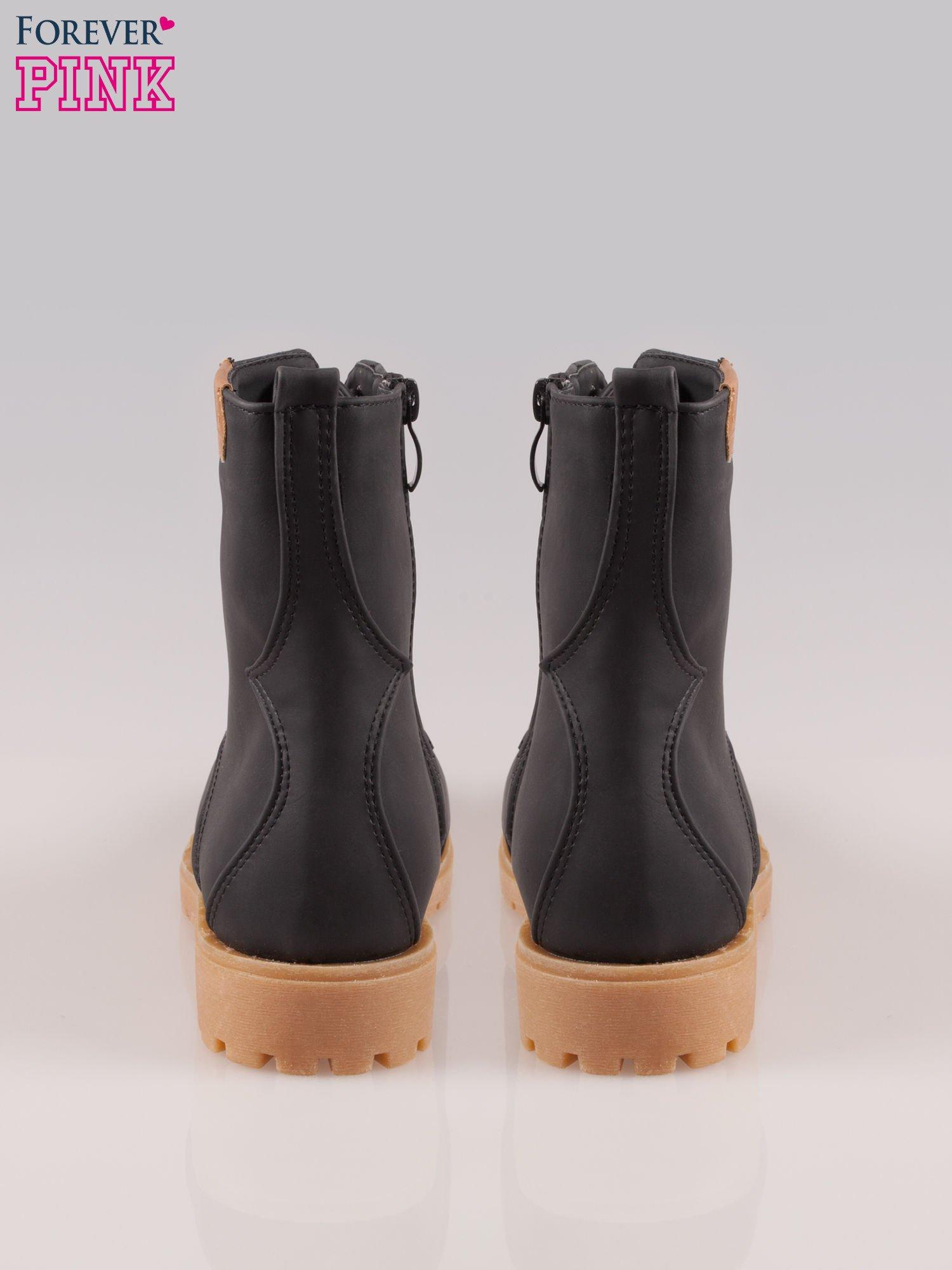 Czarne damskie buty trekkingowe typu traperki                                  zdj.                                  3