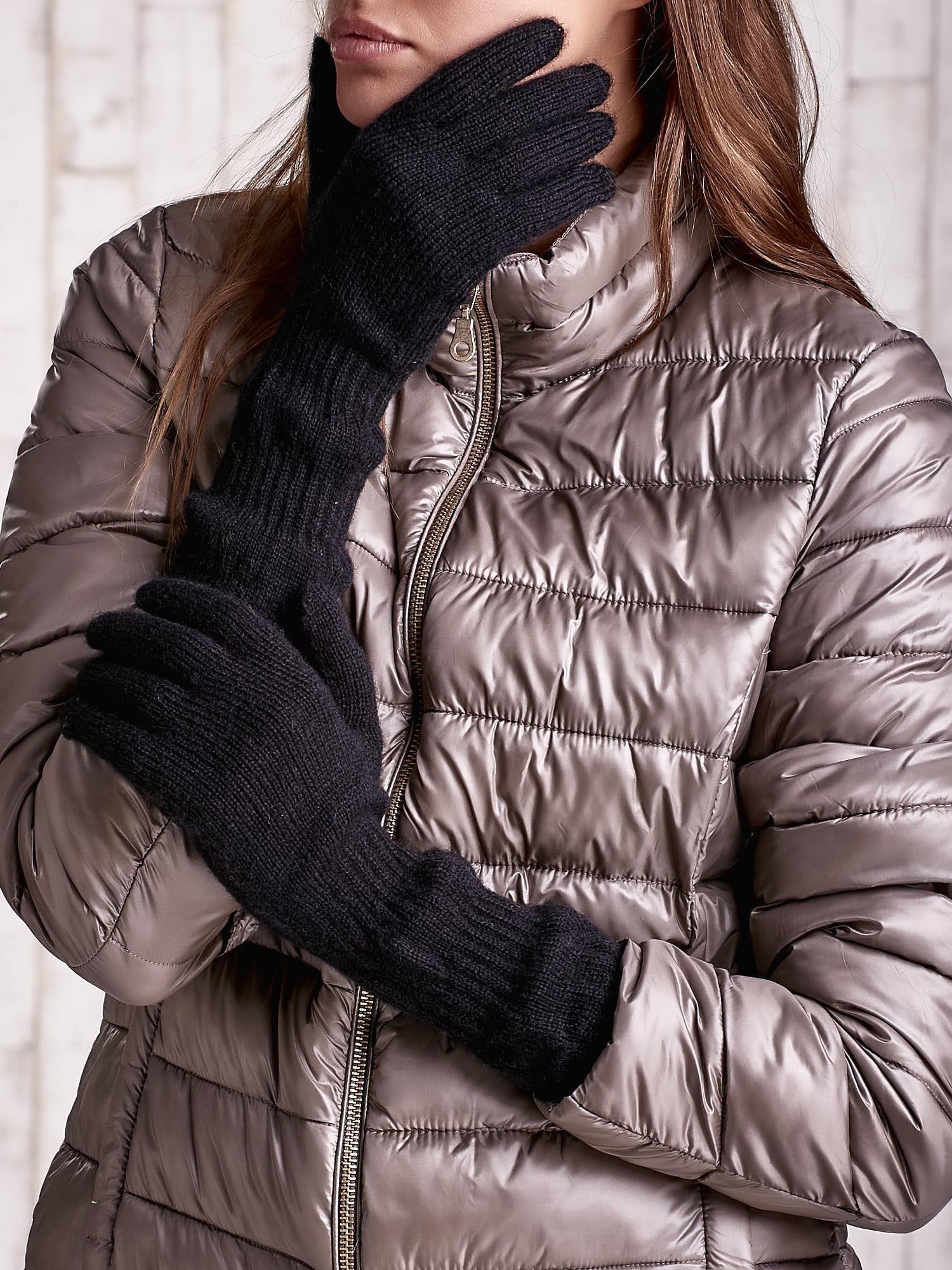 Czarne długie rękawiczki z przeszywanym ściągaczem                                  zdj.                                  1