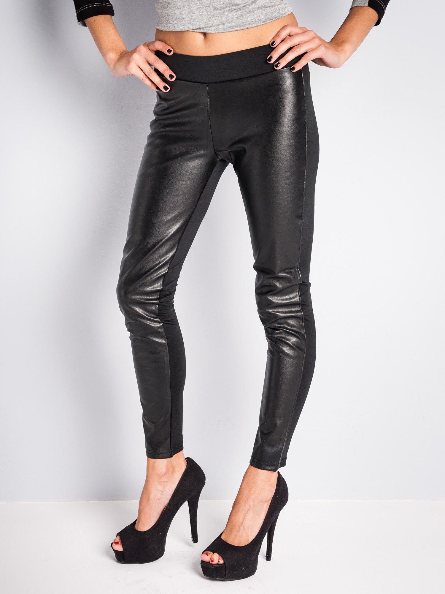 Czarne dwustronne legginsy skórzane                                  zdj.                                  1