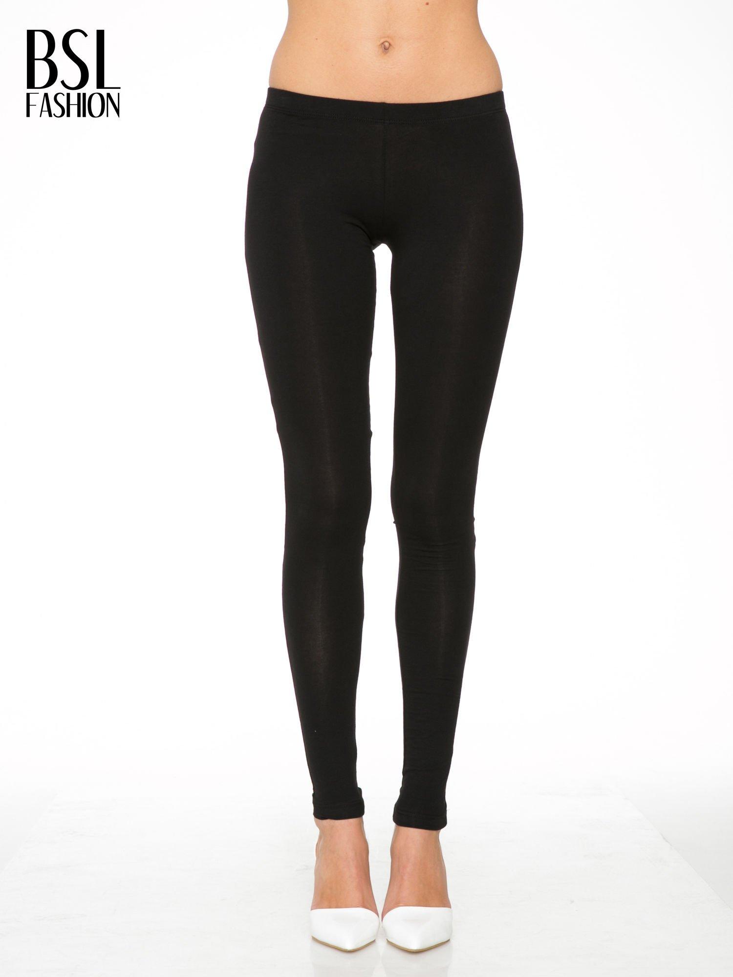 Czarne gładkie legginsy z bawełny                                  zdj.                                  1