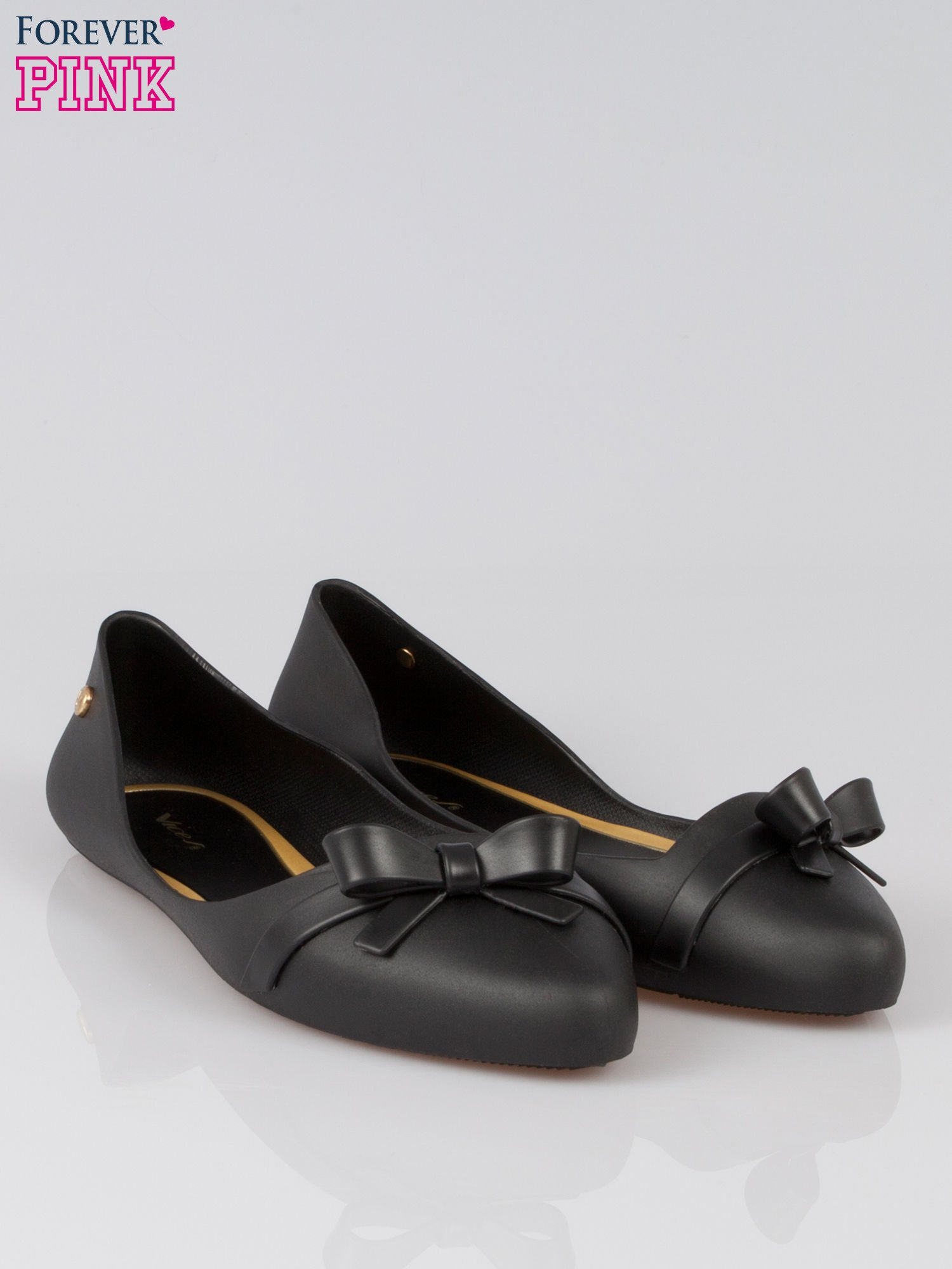 Czarne gumowe balerinki z kokardką                                  zdj.                                  2