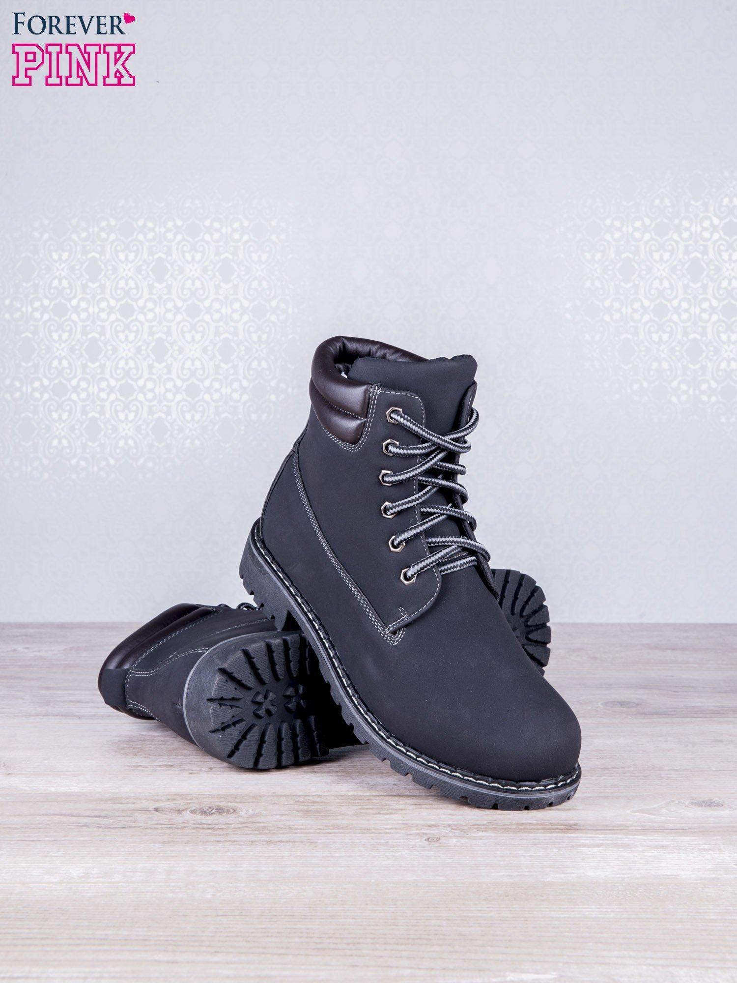 Czarne jednolite buty trekkingowe Toy damskie traperki ocieplane                                  zdj.                                  3