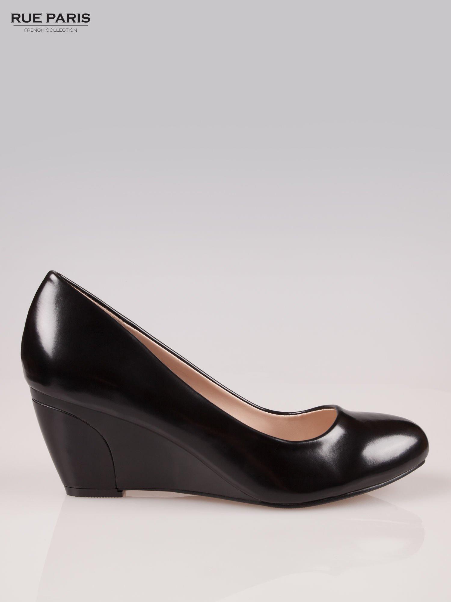 Czarne klasyczne koturny faux leather Mary                                  zdj.                                  1