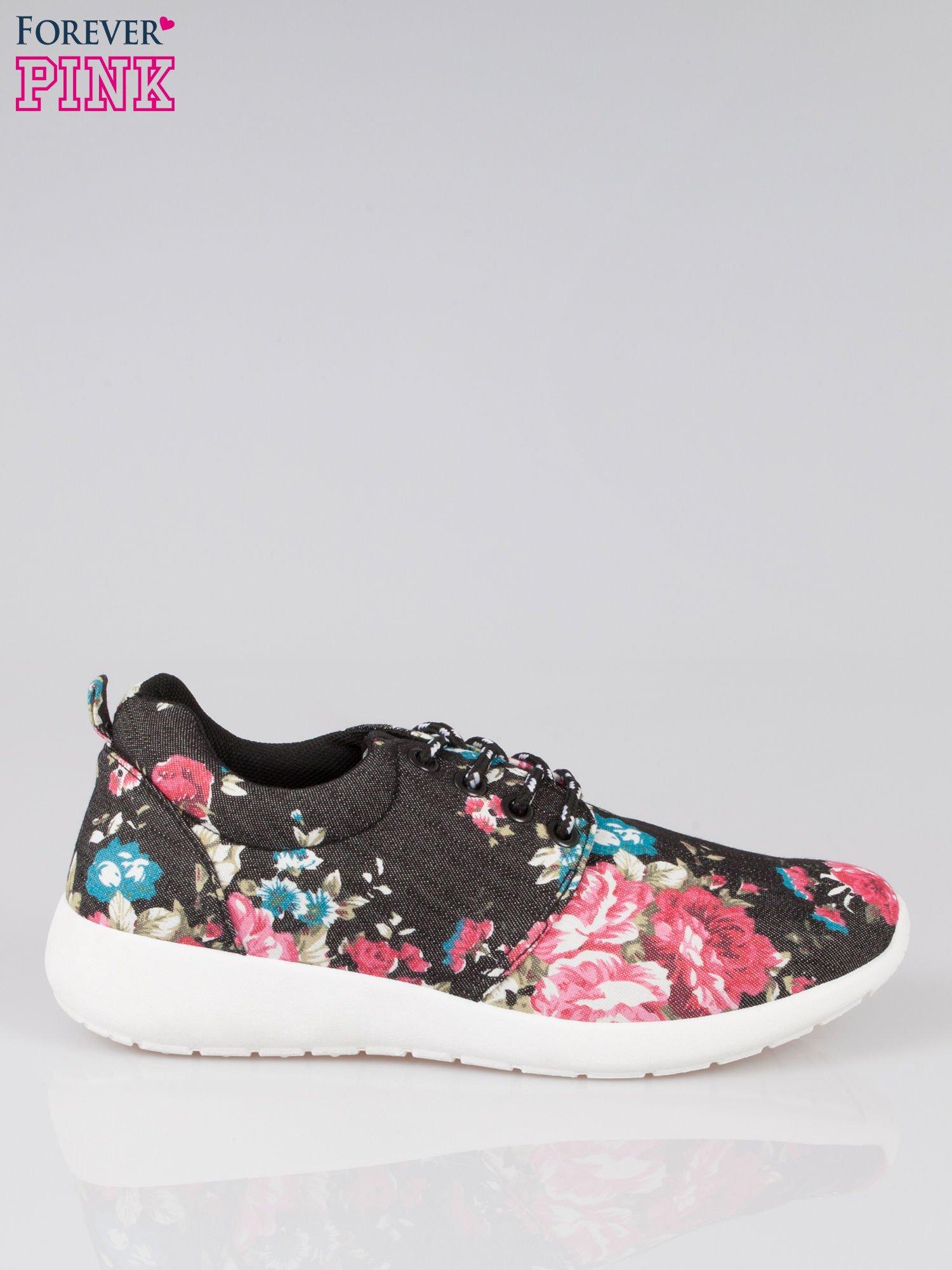 Czarne kwiatowe buty sportowe Bring It On na podeszwie flex                                  zdj.                                  1