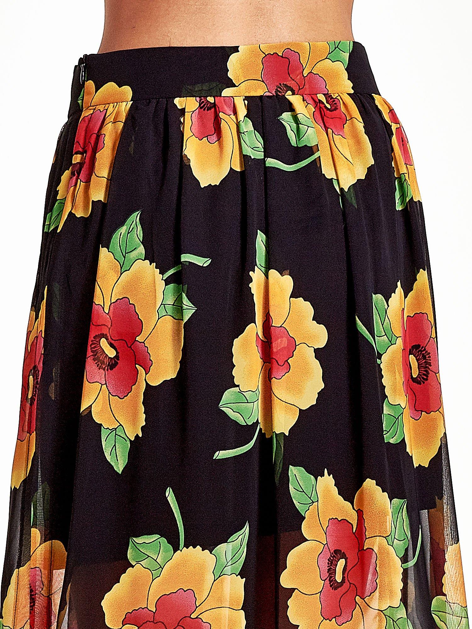 Czarne kwiatowe zwiewne spodnie culottes                                  zdj.                                  7
