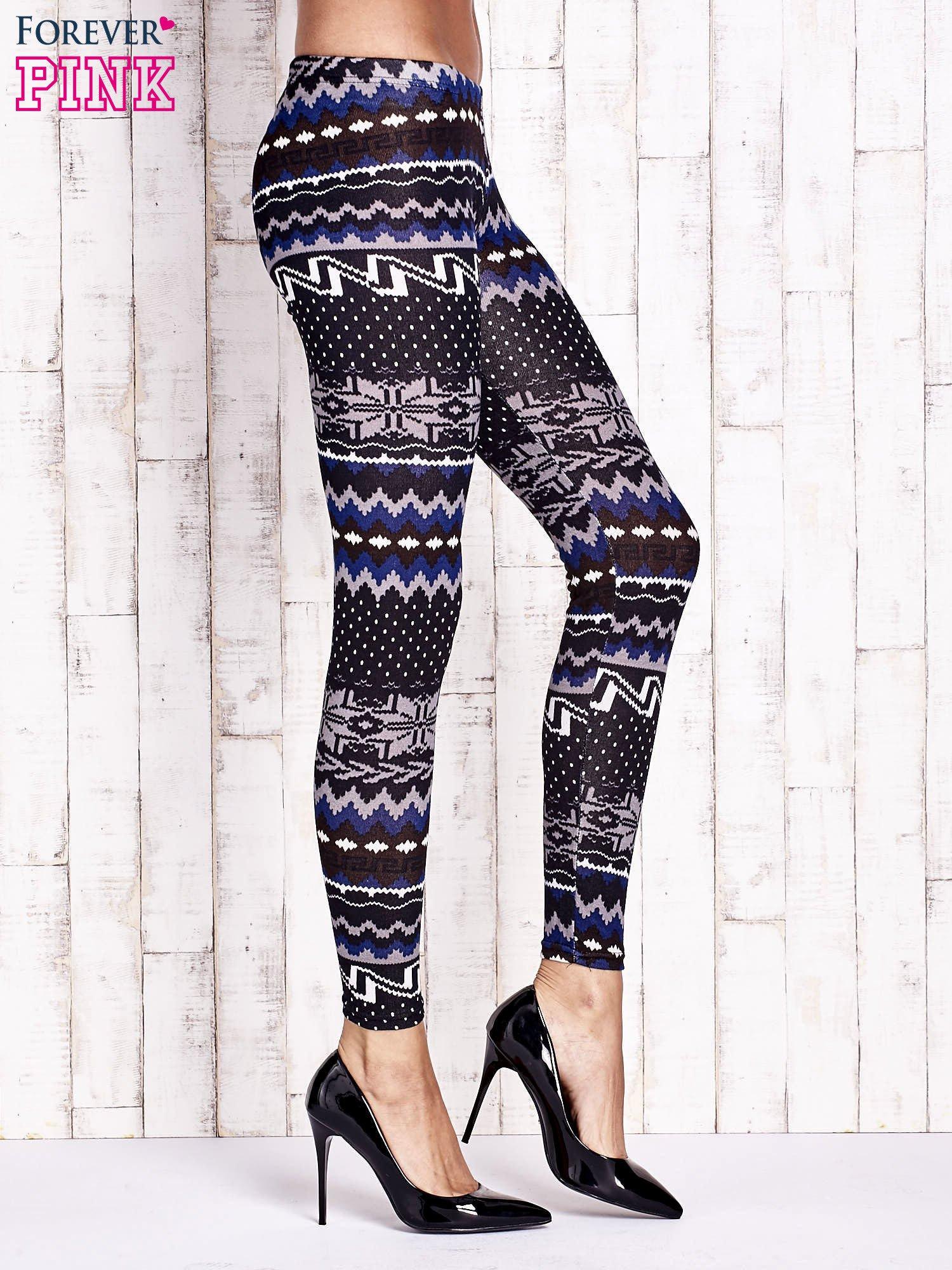 Czarne legginsy w zimowy motyw                                  zdj.                                  2