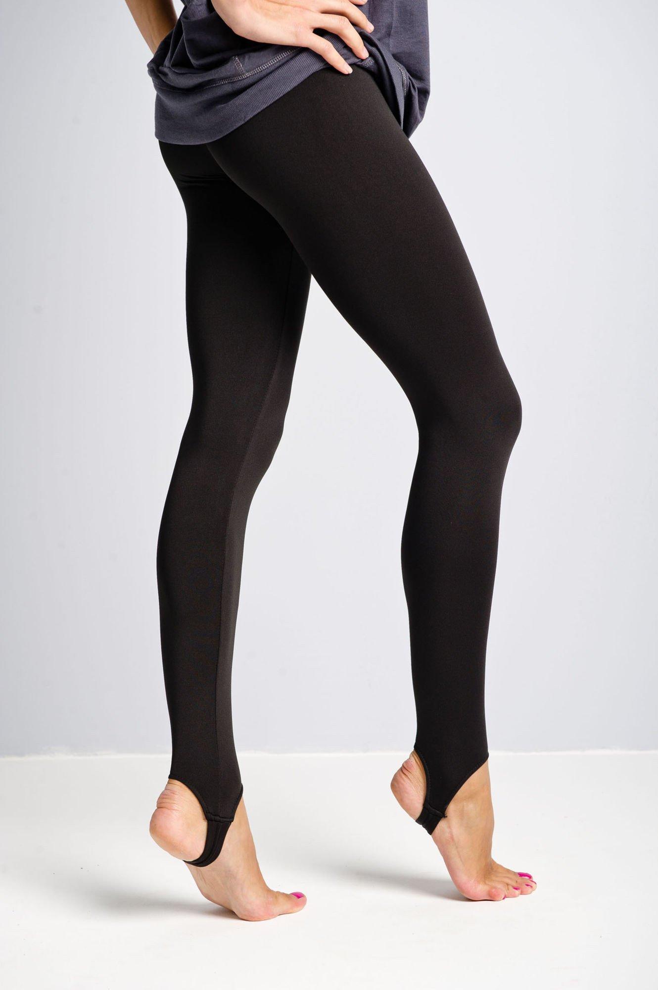 Czarne legginsy zakładane na stopę                                  zdj.                                  3