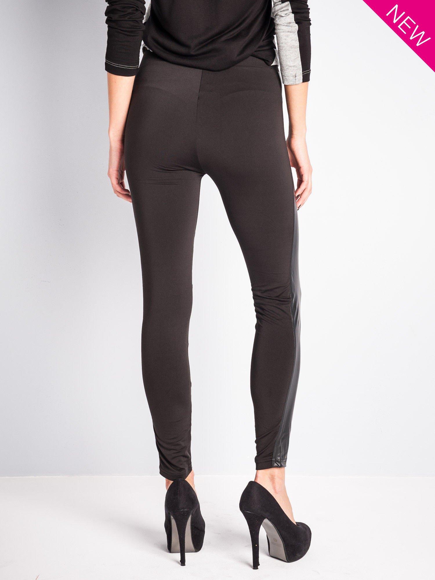 Czarne legginsy ze skórzanymi przeszyciami                                  zdj.                                  3