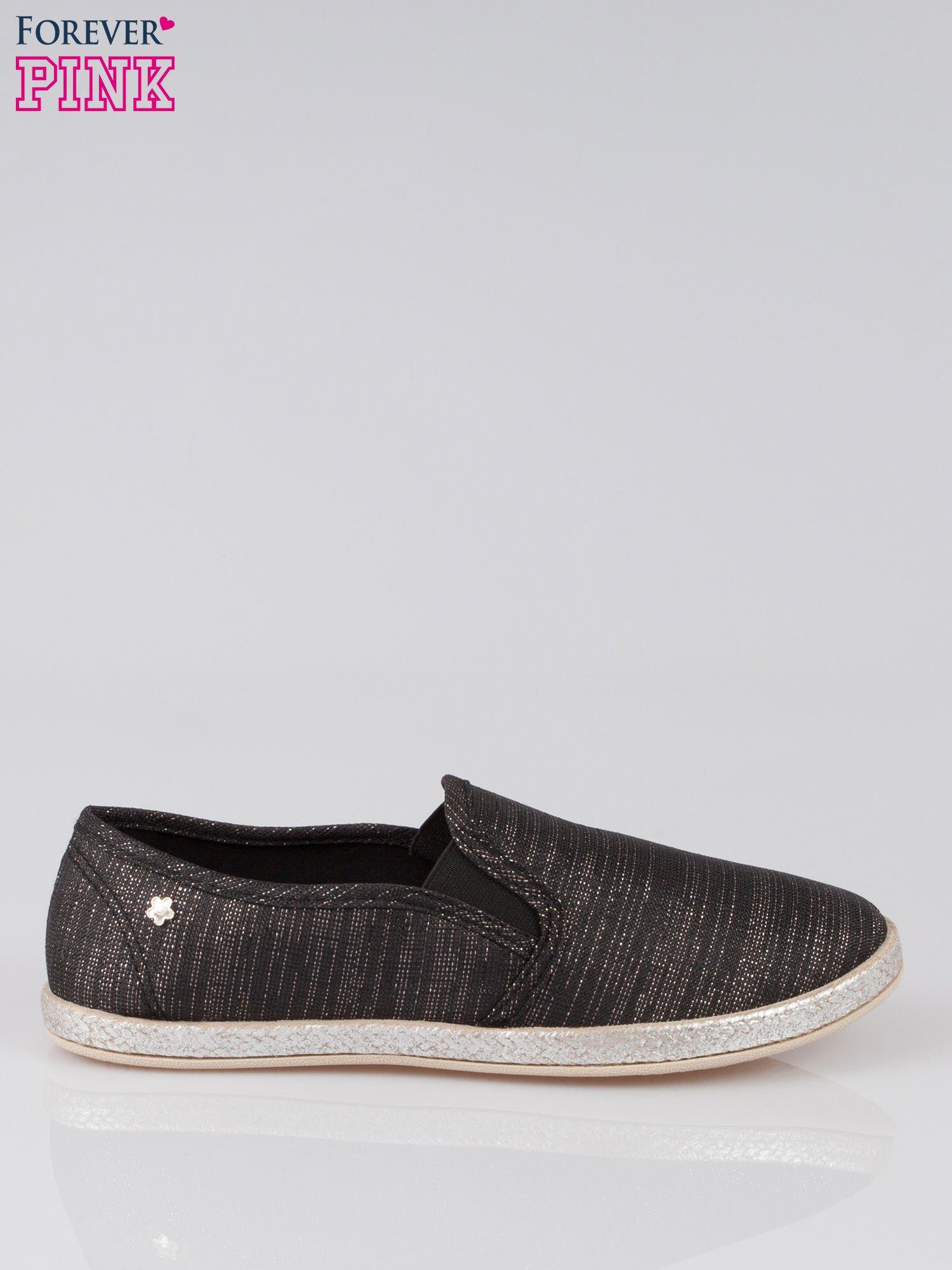 Czarne melanżowe buty slip-on                                  zdj.                                  1