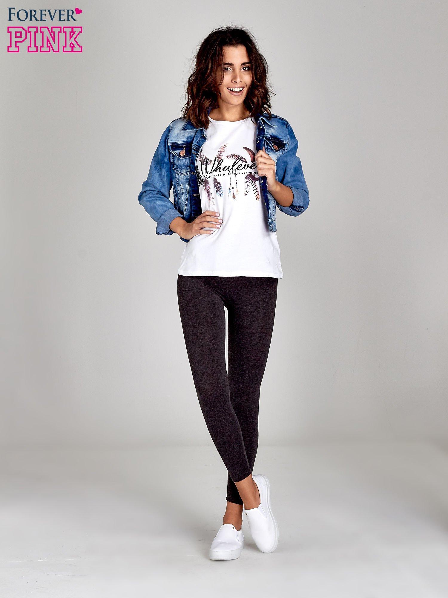 Czarne melanżowe legginsy damskie basic                                  zdj.                                  2