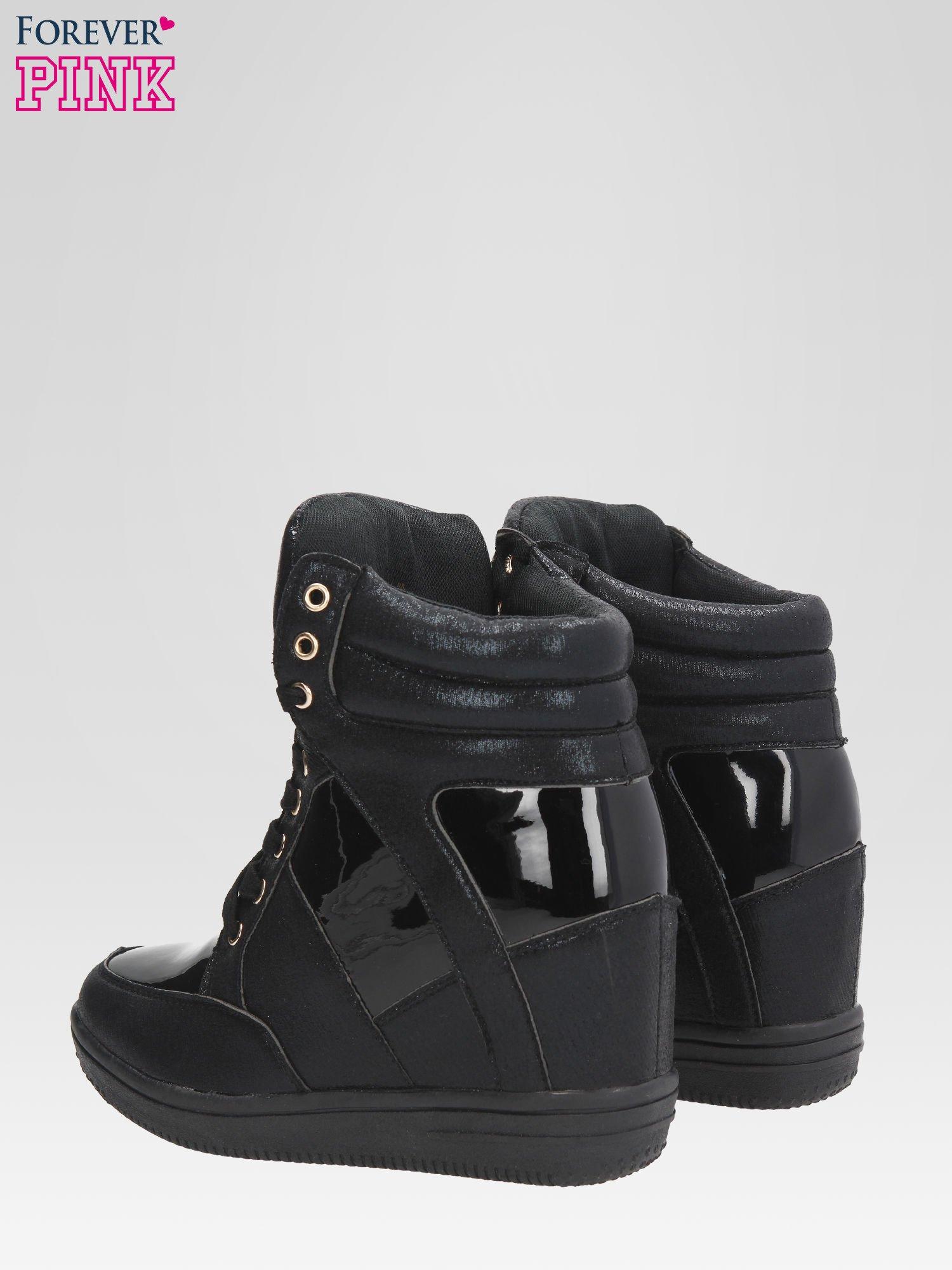 Czarne metaliczne sneakersy damskie na koturnie                                  zdj.                                  5