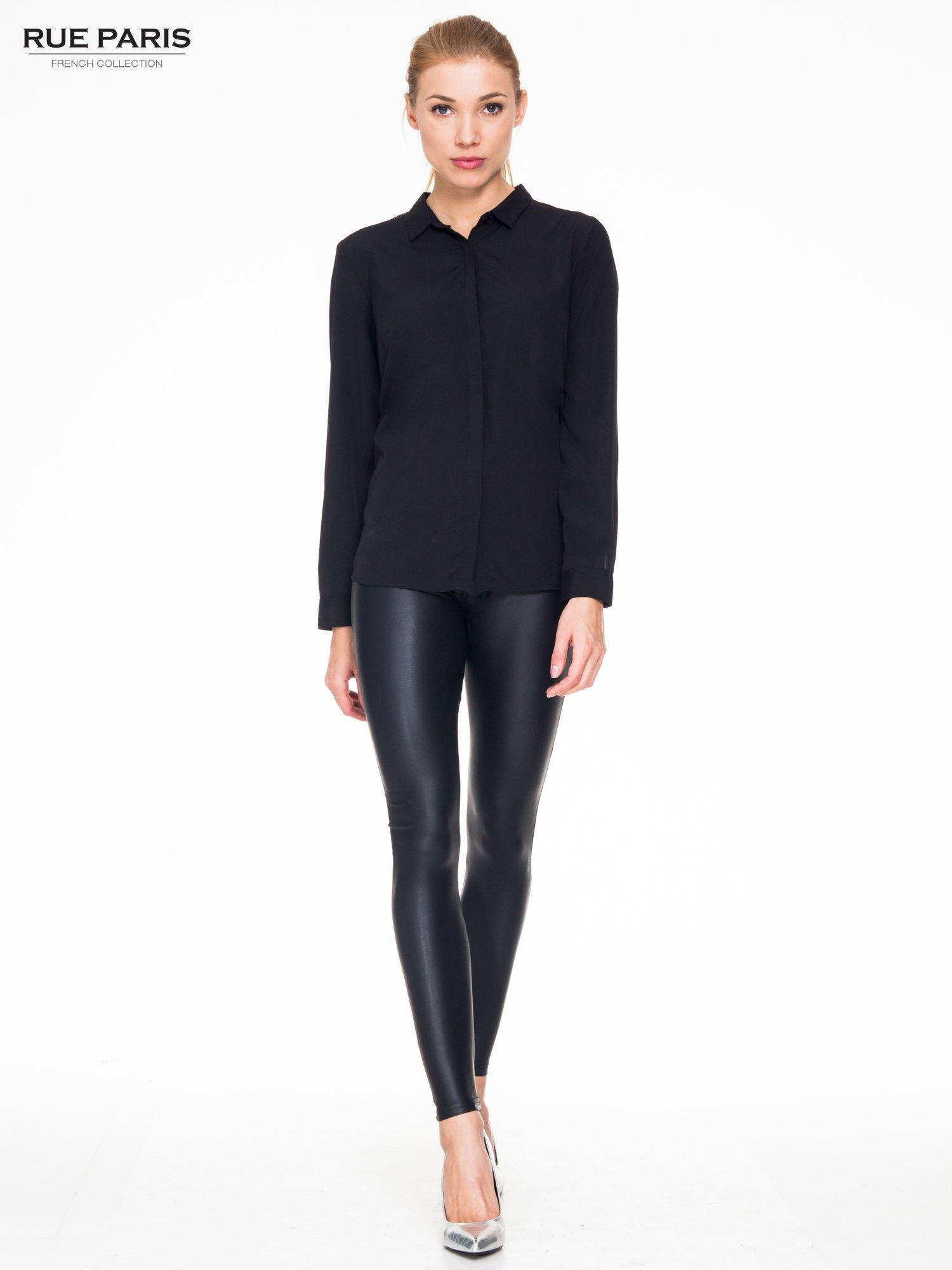 Czarne modelujące skórzane legginsy                                  zdj.                                  2